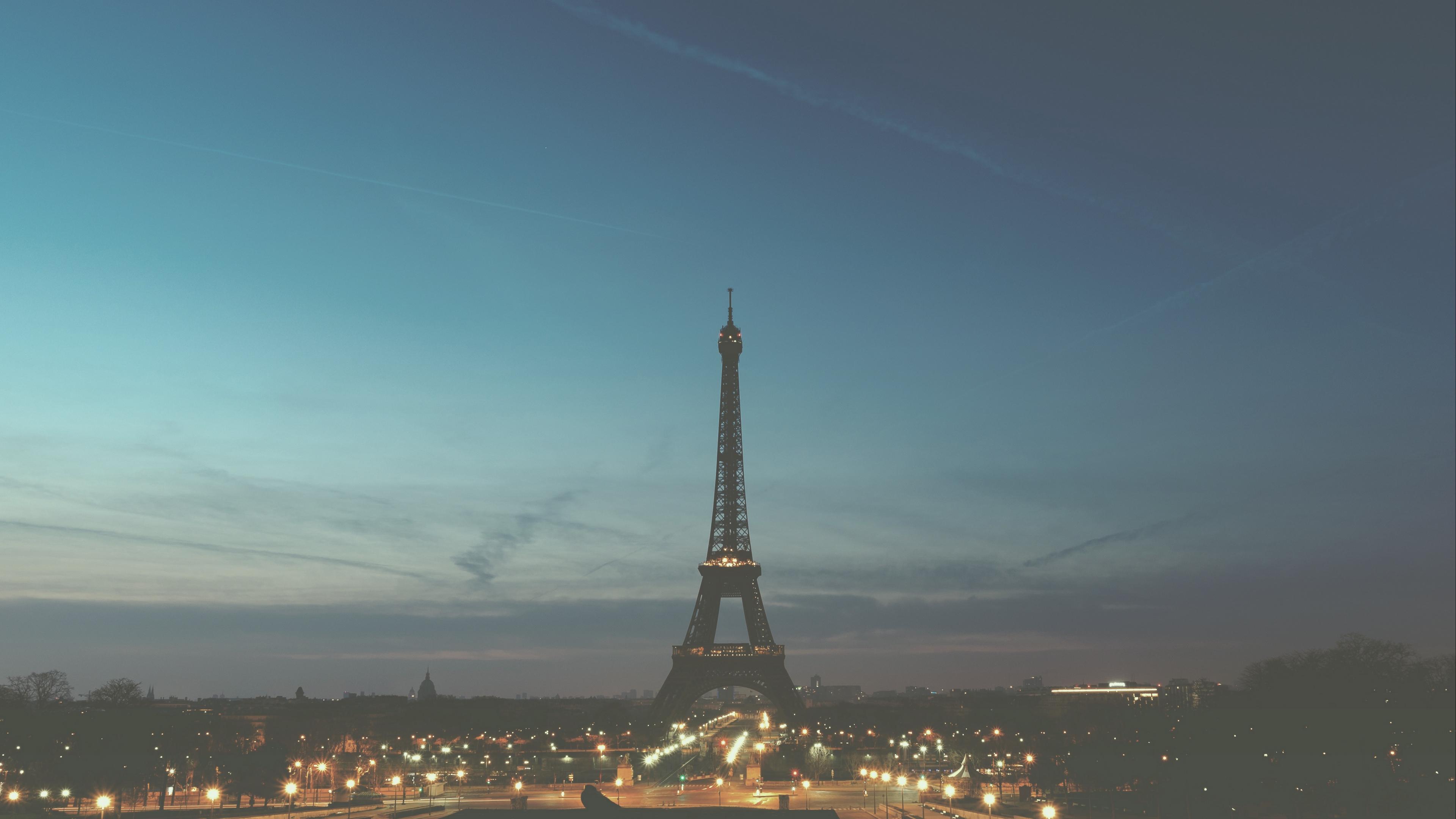 eiffel tower paris night 4k 1538064829 - eiffel tower, paris, night 4k - Paris, Night, eiffel tower