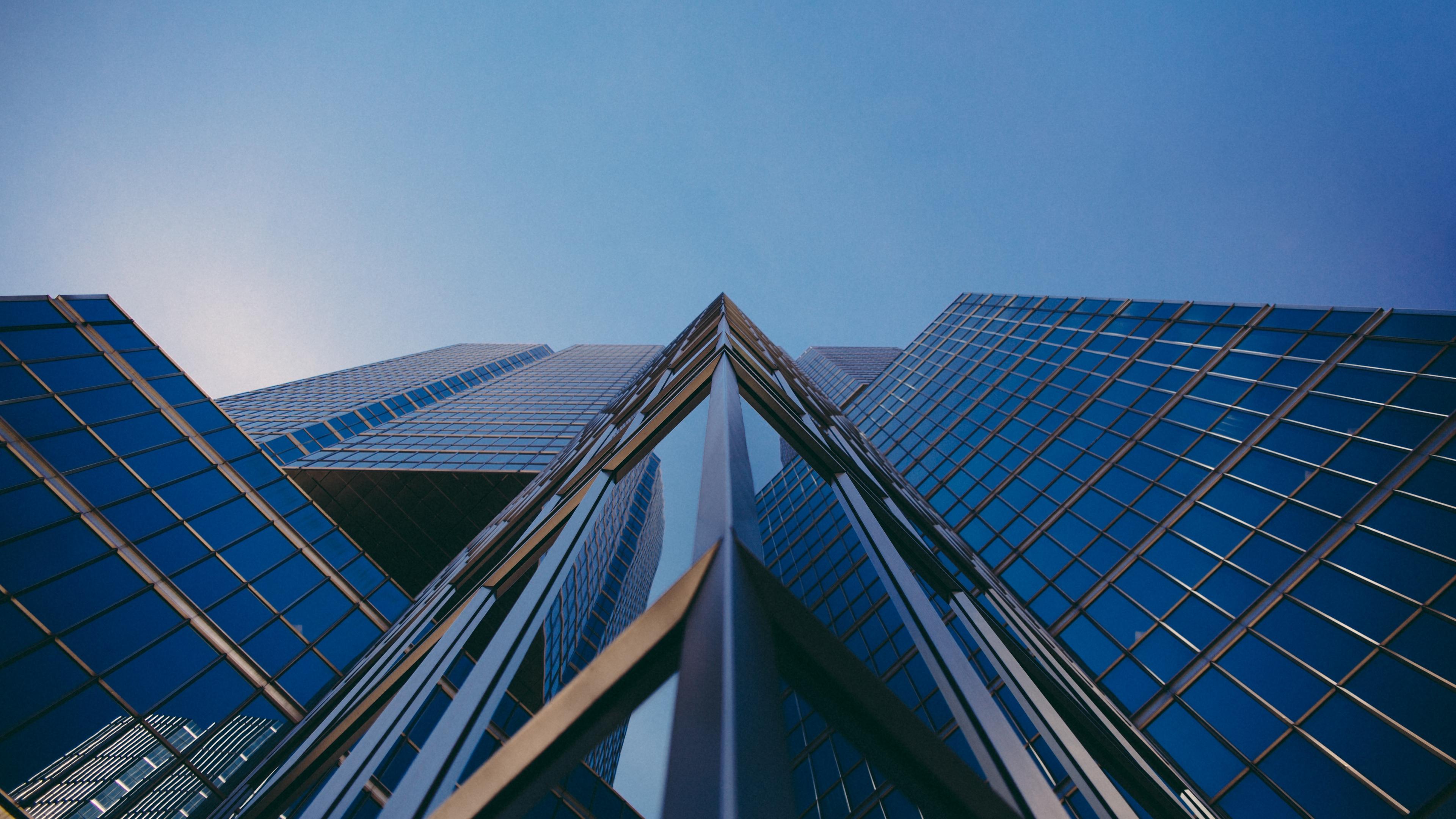 facade building glass bottom view sky 4k 1538066457 - facade, building, glass, bottom view, sky 4k - Glass, facade, Building