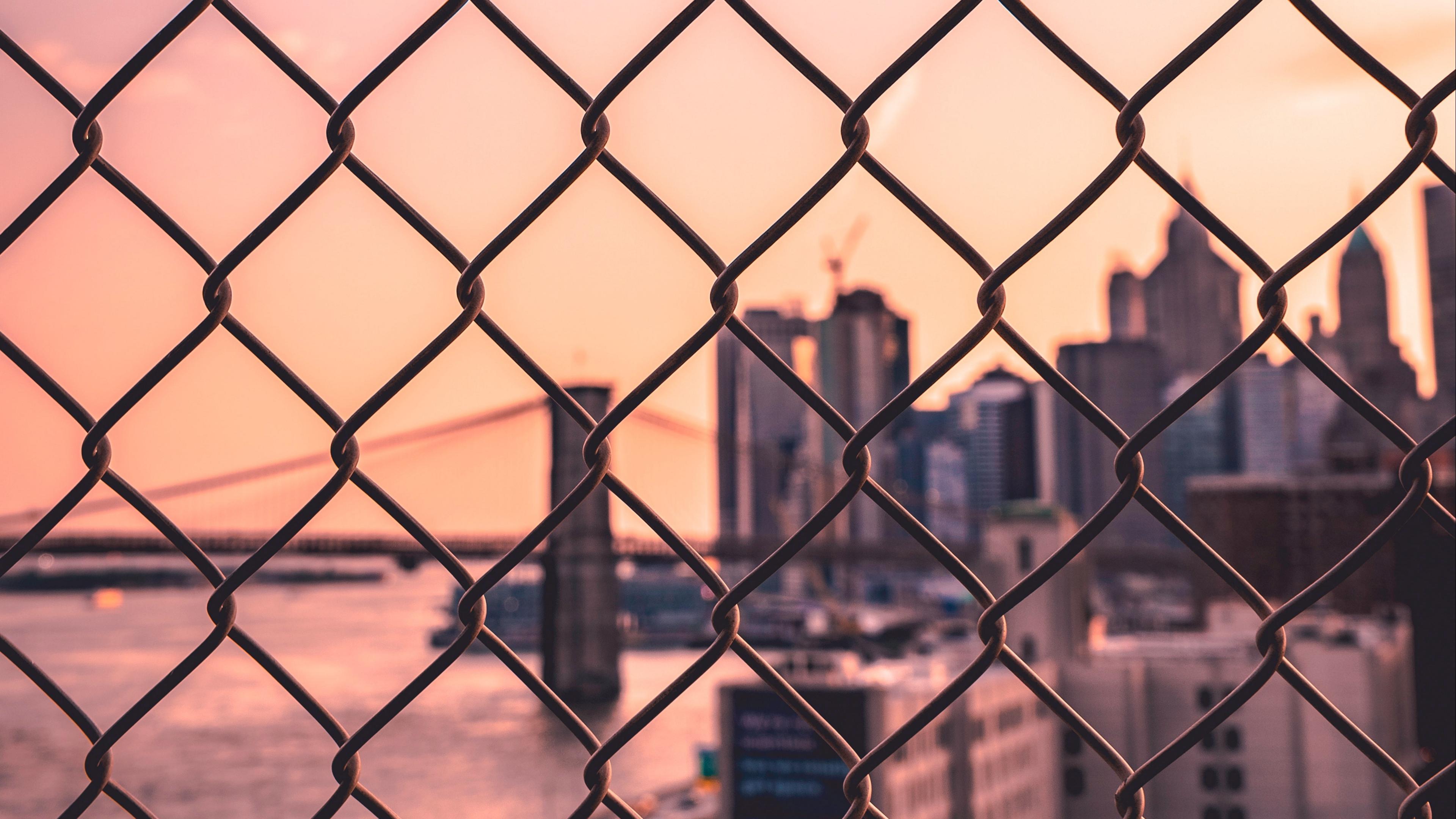 fence mesh city blur 4k 1538067067 - fence, mesh, city, blur 4k - mesh, fence, City