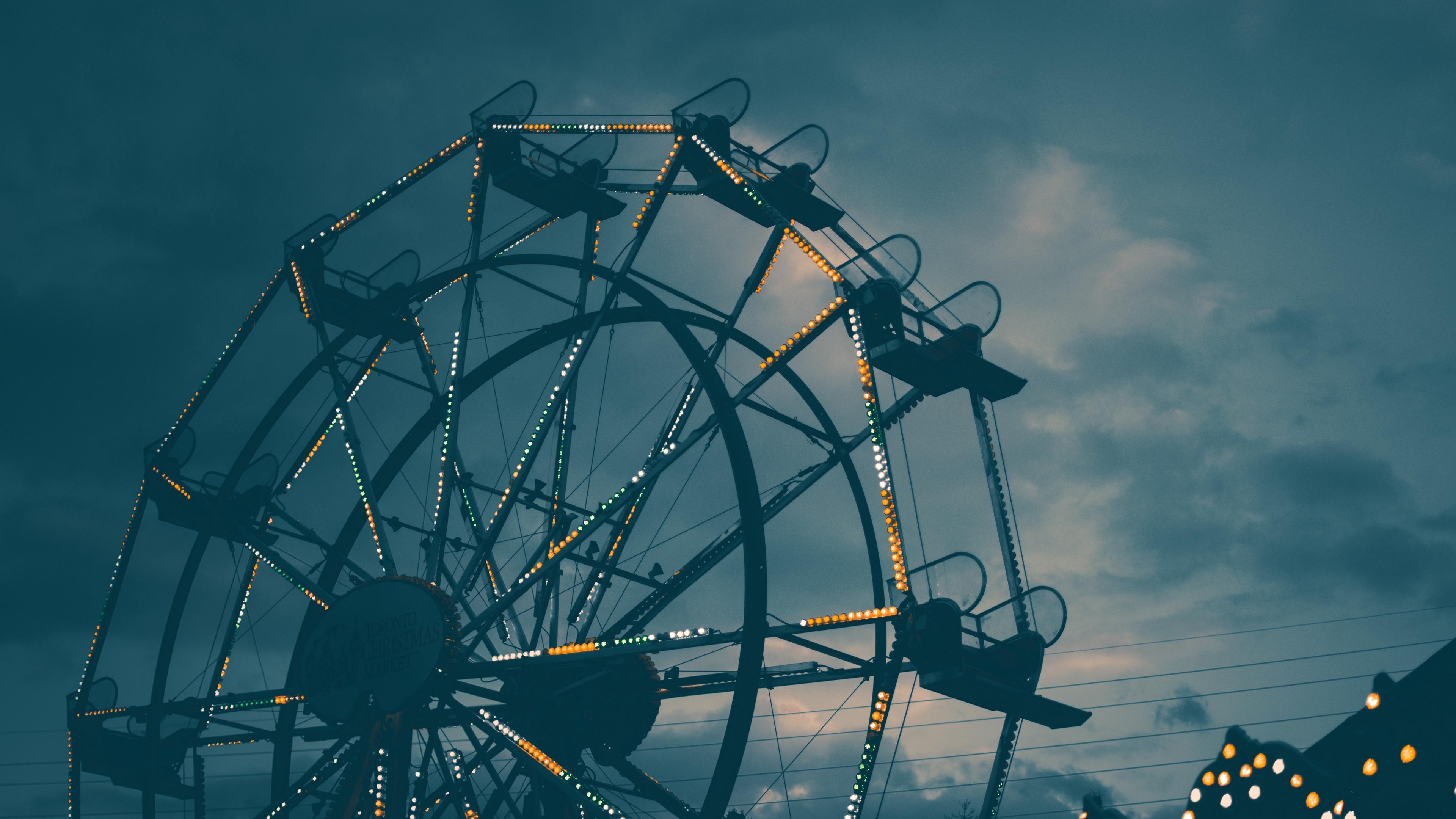 ferris wheel night backlight 4k 1538066093 - ferris wheel, night, backlight 4k - Night, ferris wheel, backlight