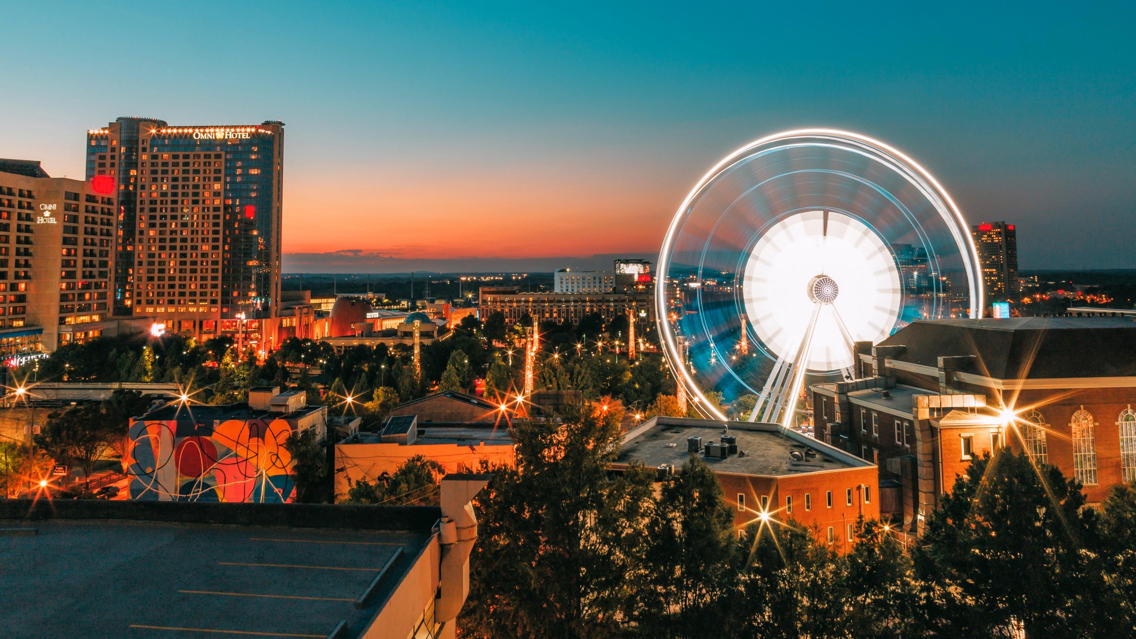 ferris wheel night city buildings 4k 1538066179 - ferris wheel, night, city, buildings 4k - Night, ferris wheel, City