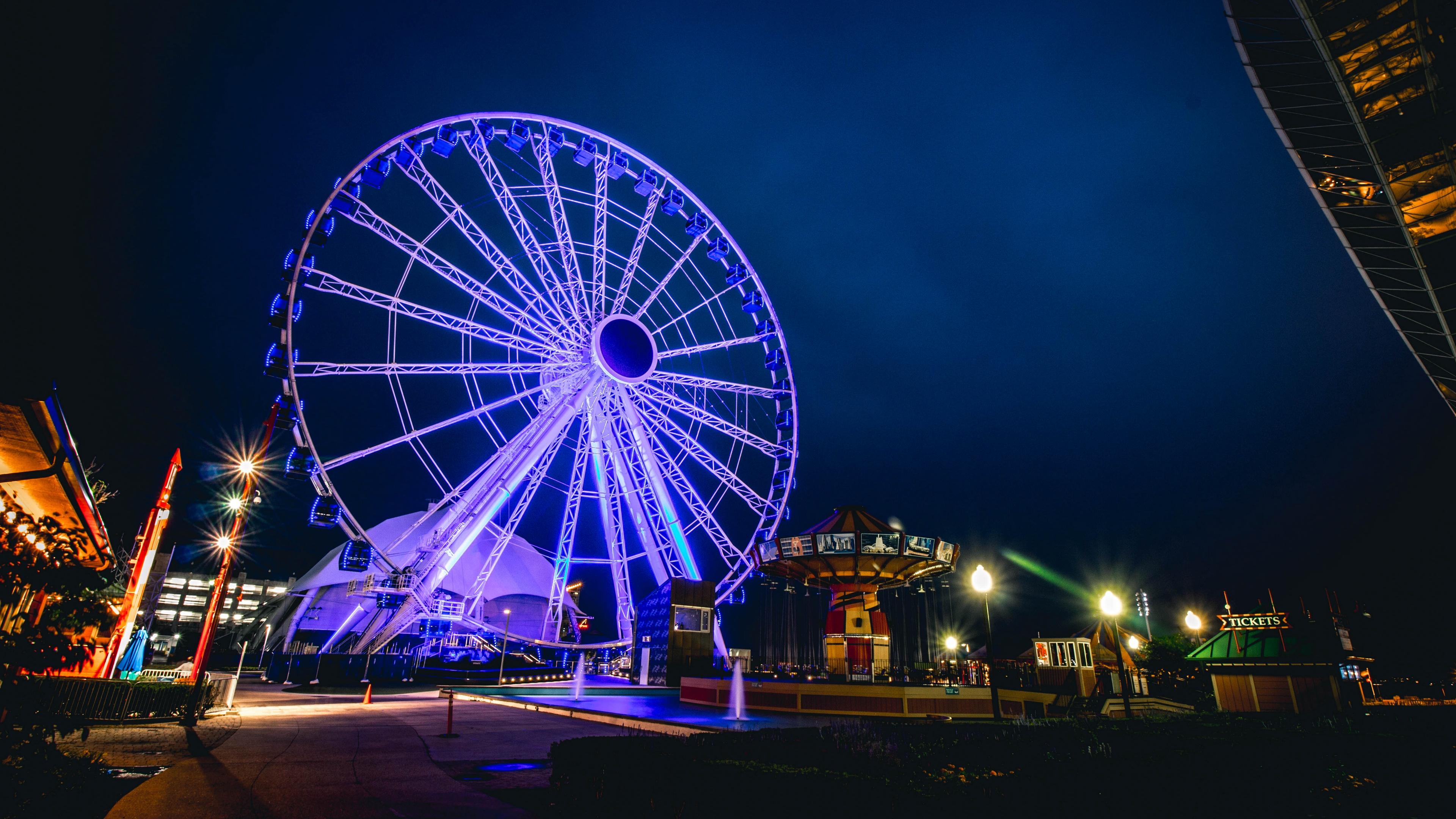ferris wheel night light attraction 4k 1538065217 - ferris wheel, night, light, attraction 4k - Night, Light, ferris wheel