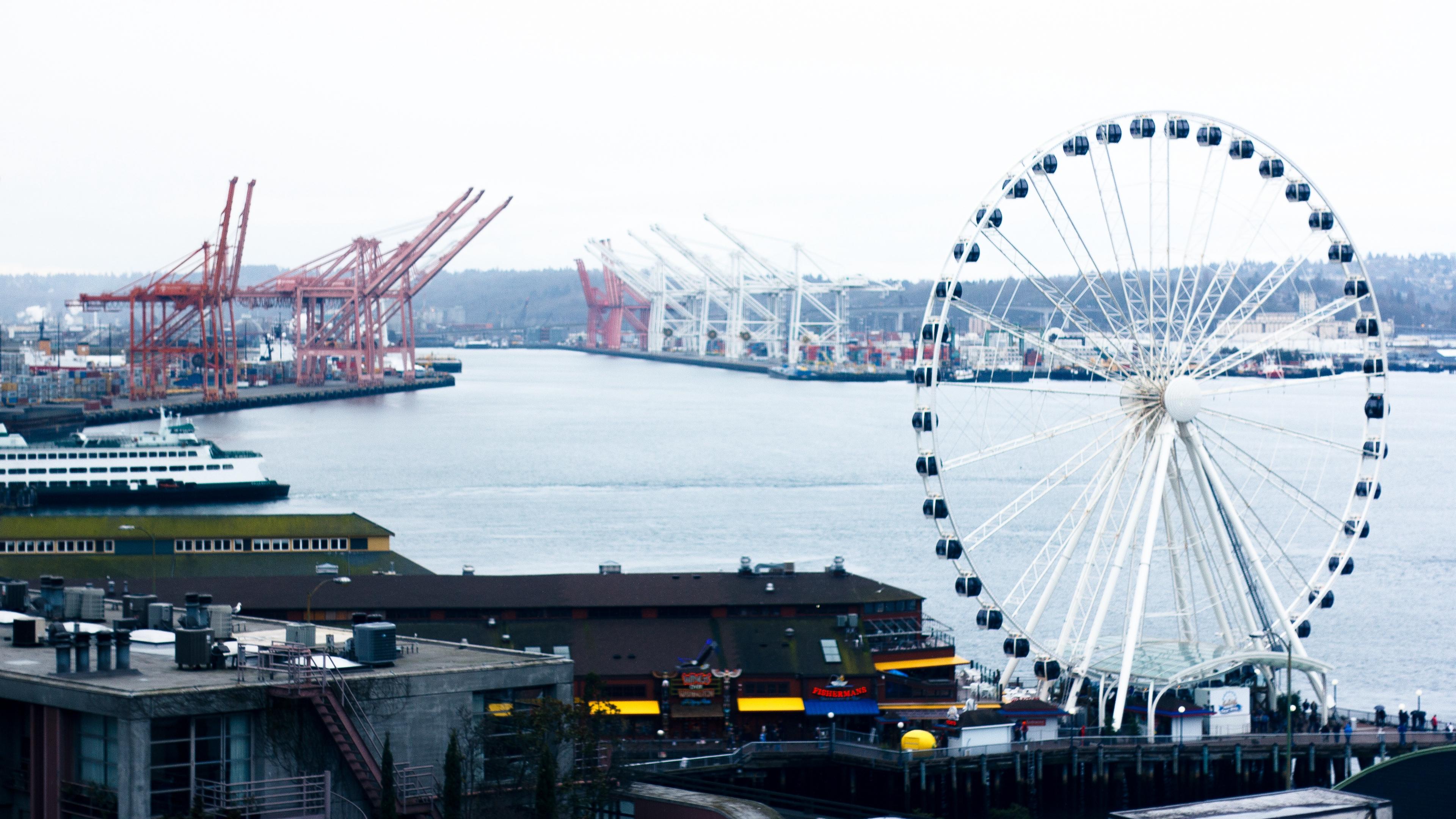 ferris wheel port sea 4k 1538066181 - ferris wheel, port, sea 4k - Sea, port, ferris wheel