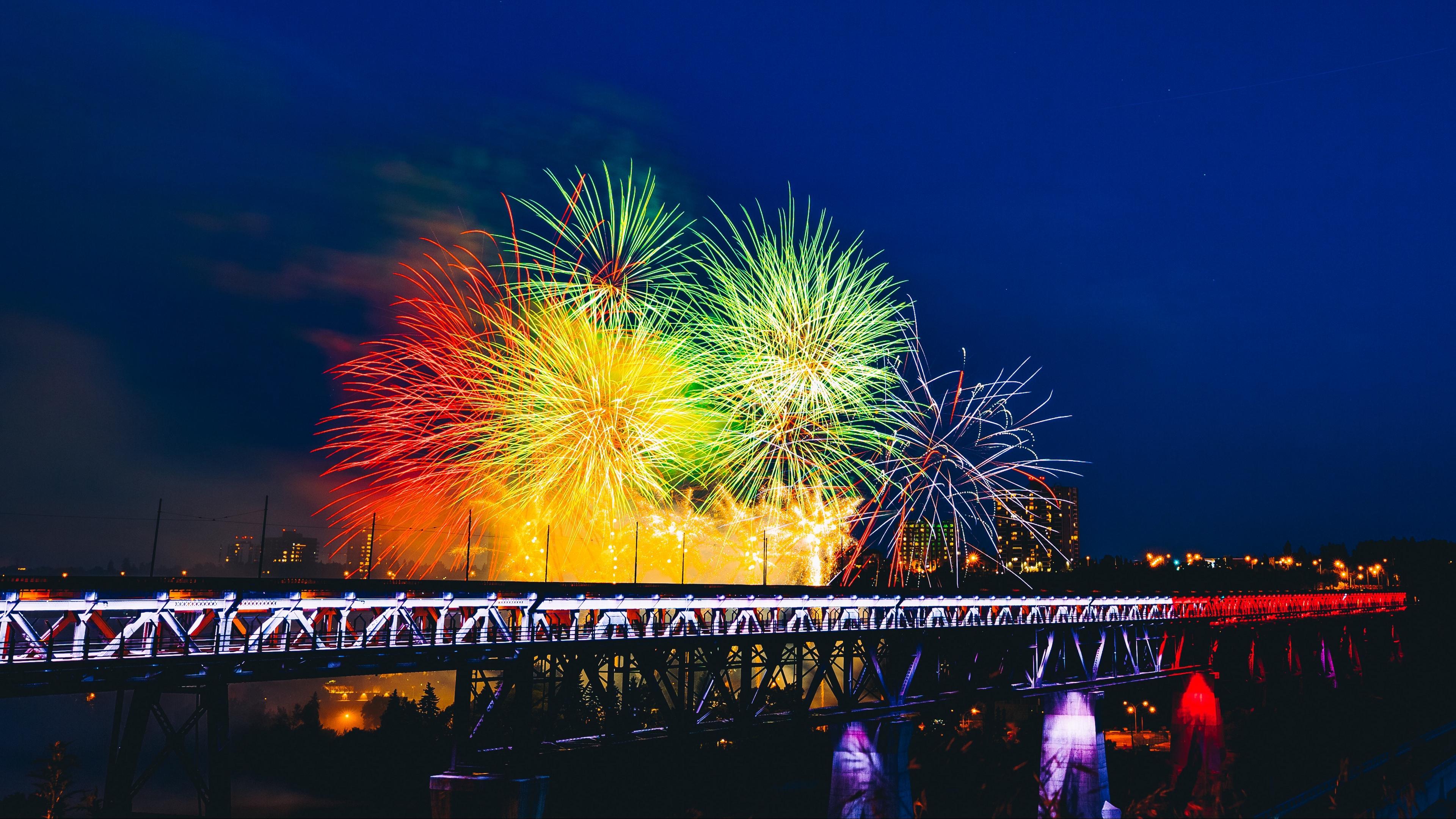 fireworks bridge holiday colorful 4k 1538345169 - fireworks, bridge, holiday, colorful 4k - Holiday, Fireworks, bridge