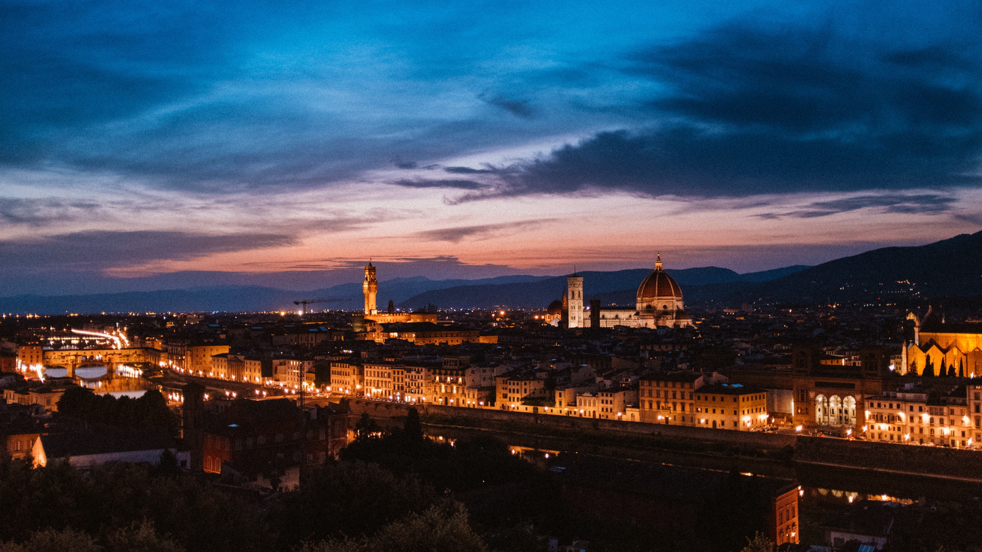 florence italy night city top view 4k 1538068725 - florence, italy, night city, top view 4k - night city, Italy, florence