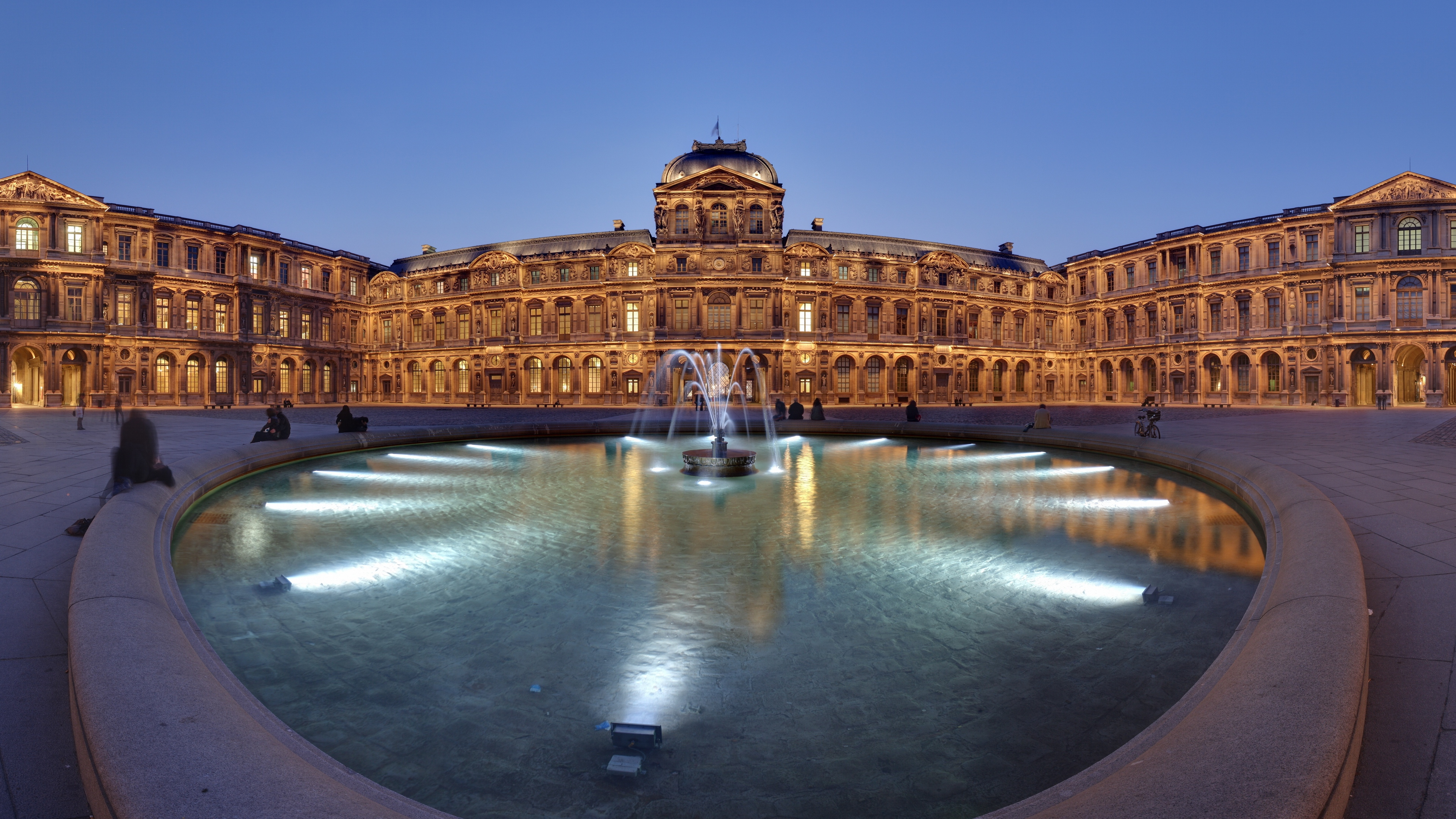 france louvre panorama fountain lights evening attractions 4k 1538065670 - france, louvre, panorama, fountain, lights, evening, attractions 4k - Panorama, Louvre, France