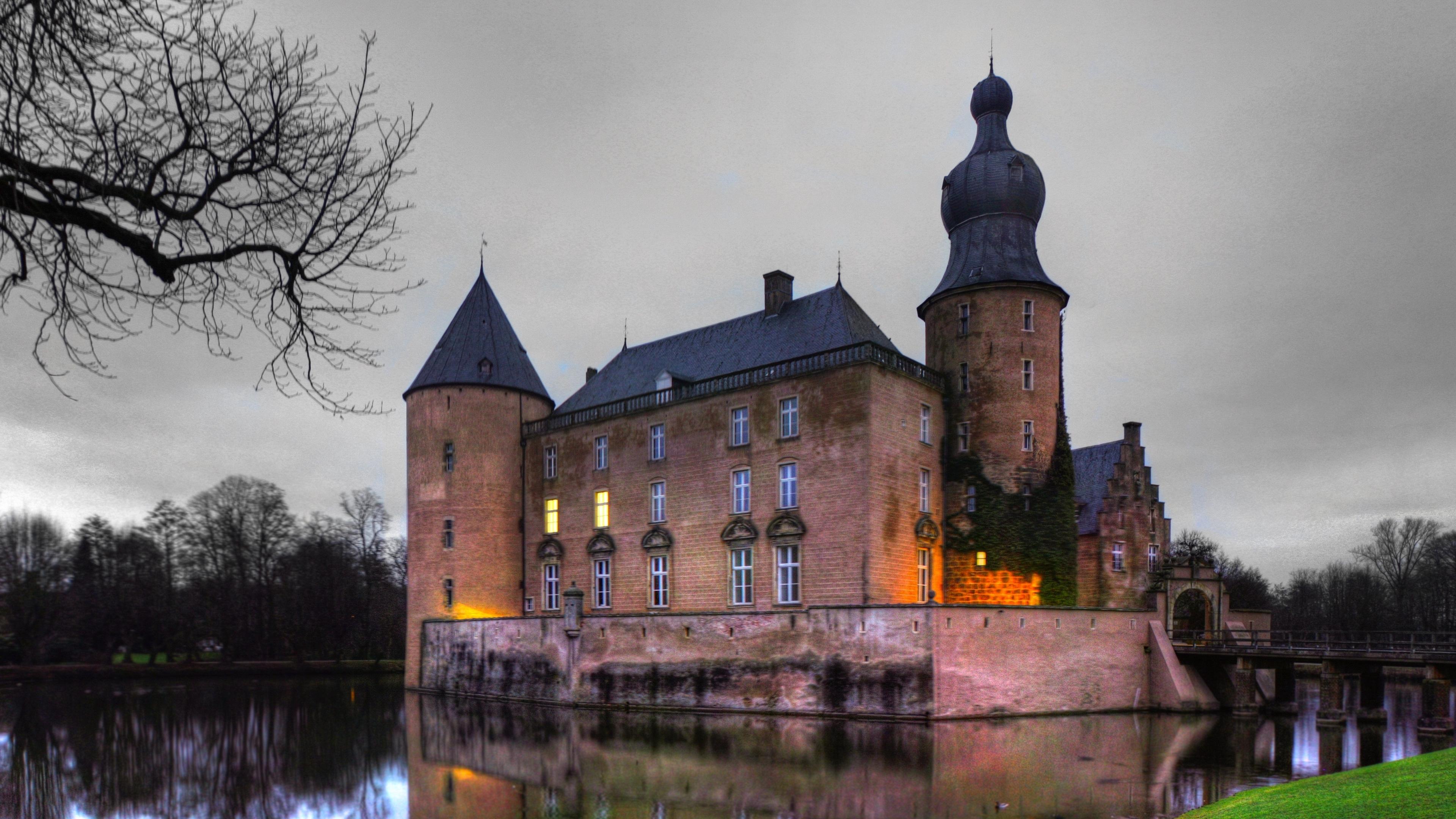 germany castle pond grass beautiful 4k 1538066343 - germany, castle, pond, grass, beautiful 4k - pond, Germany, Castle