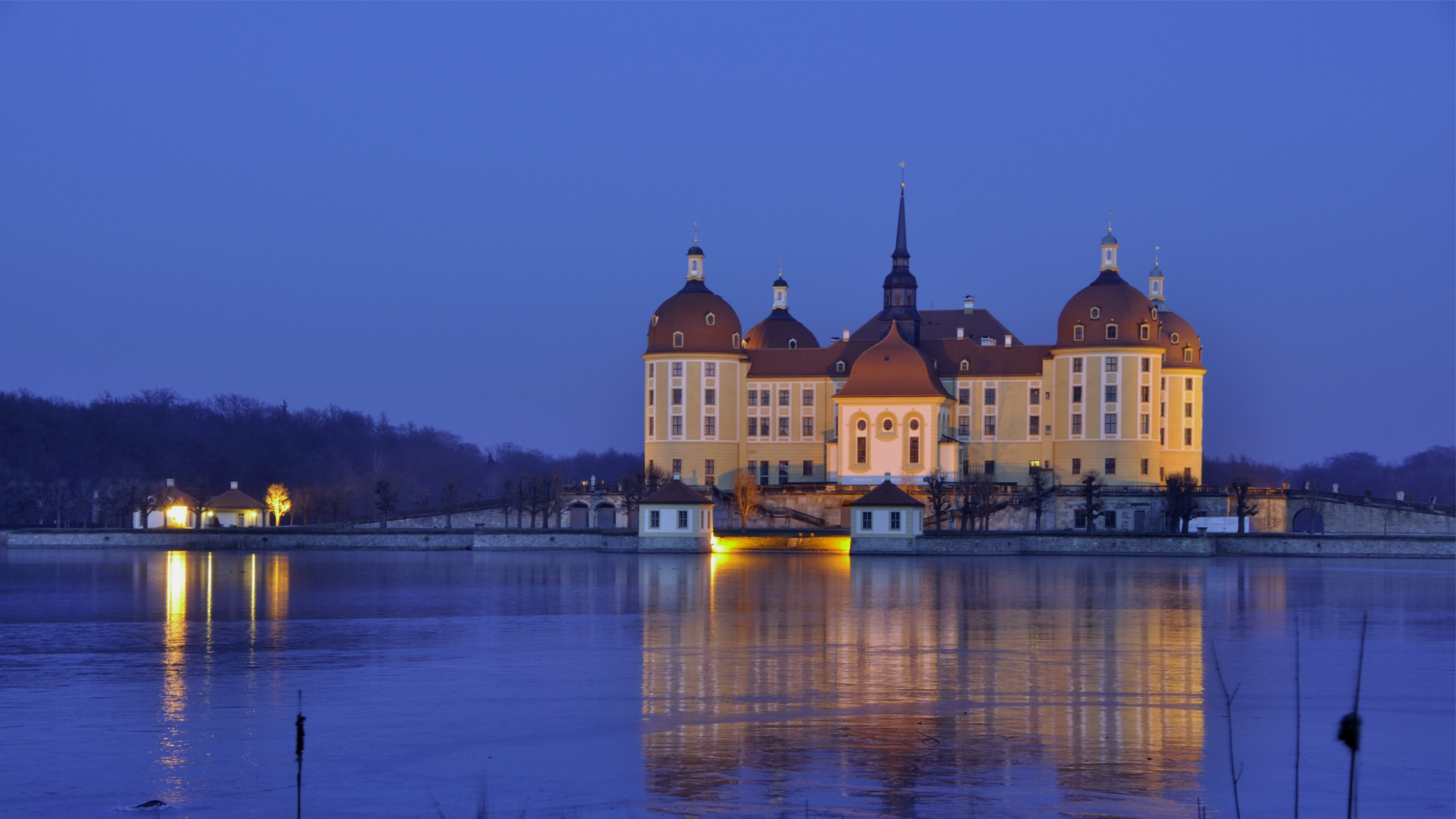germany saxony moritzburg castle evening lights light water reflection 4k 1538067623 - germany, saxony, moritzburg, castle, evening, lights, light, water, reflection 4k - saxony, Moritzburg, Germany