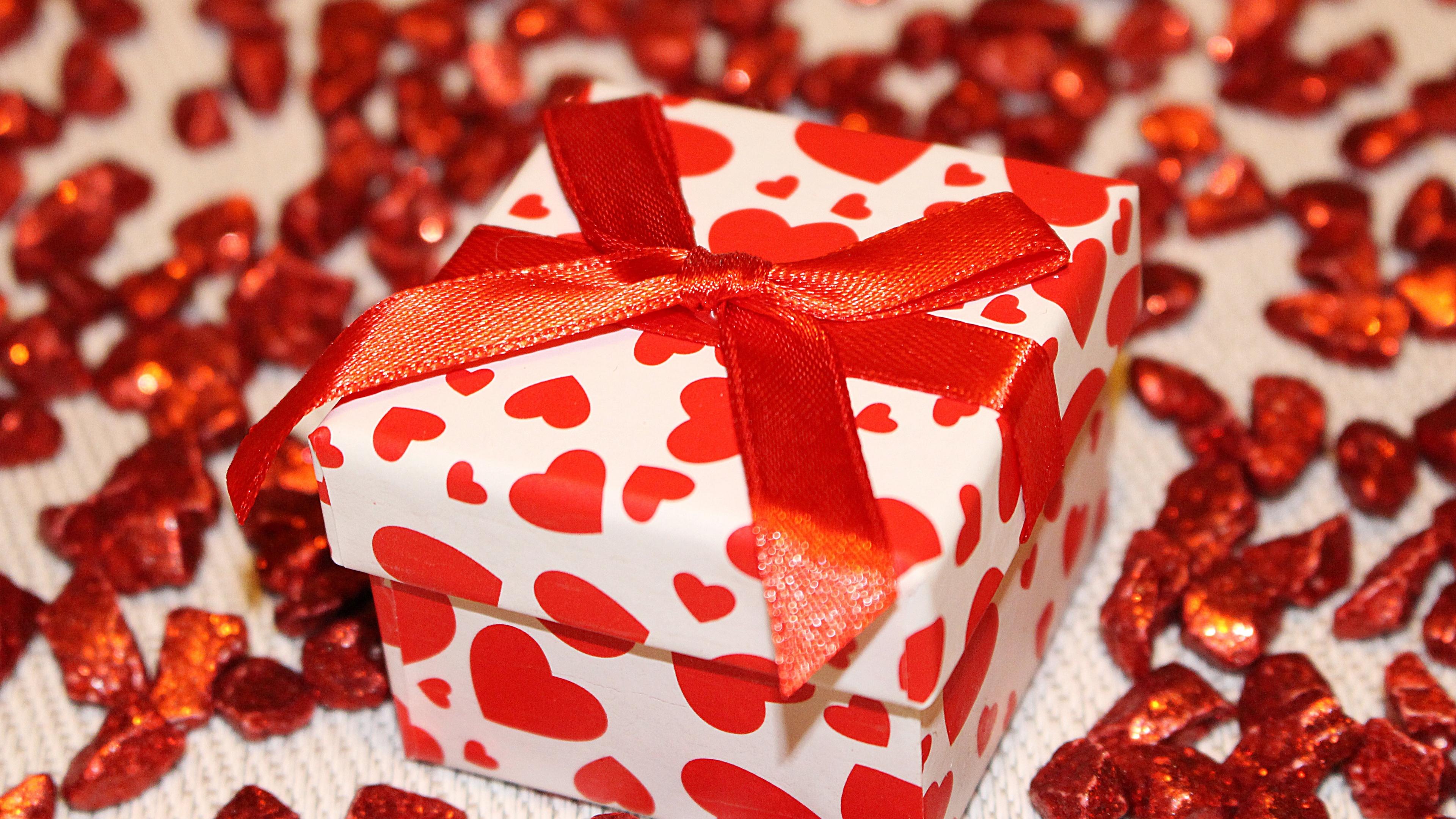 gift box ribbon heart 4k 1538345125 - gift, box, ribbon, heart 4k - ribbon, Gift, box