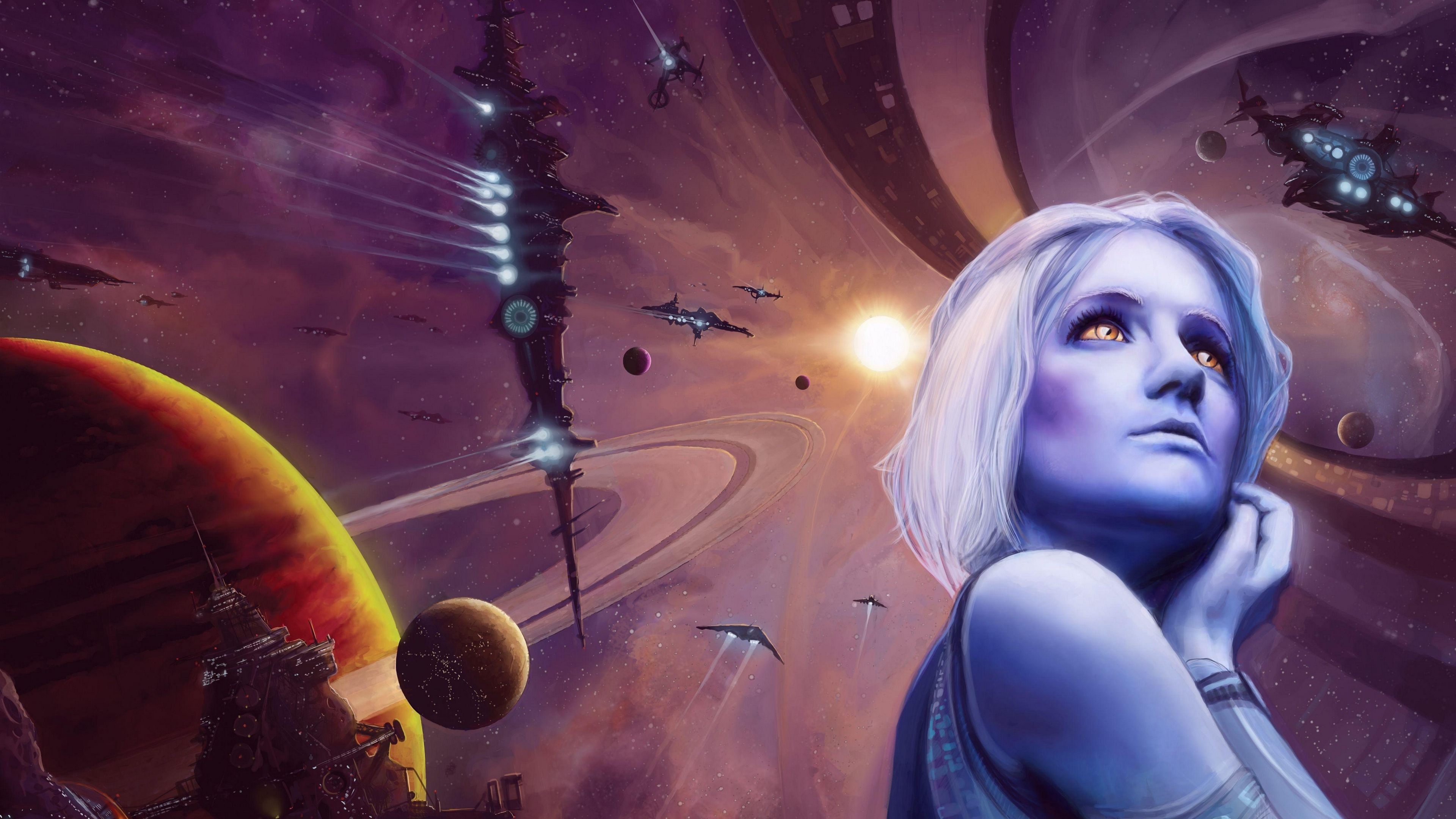 girl space spaceship planet 4k 1536098087 - girl, space, spaceship, planet 4k - Spaceship, Space, Girl