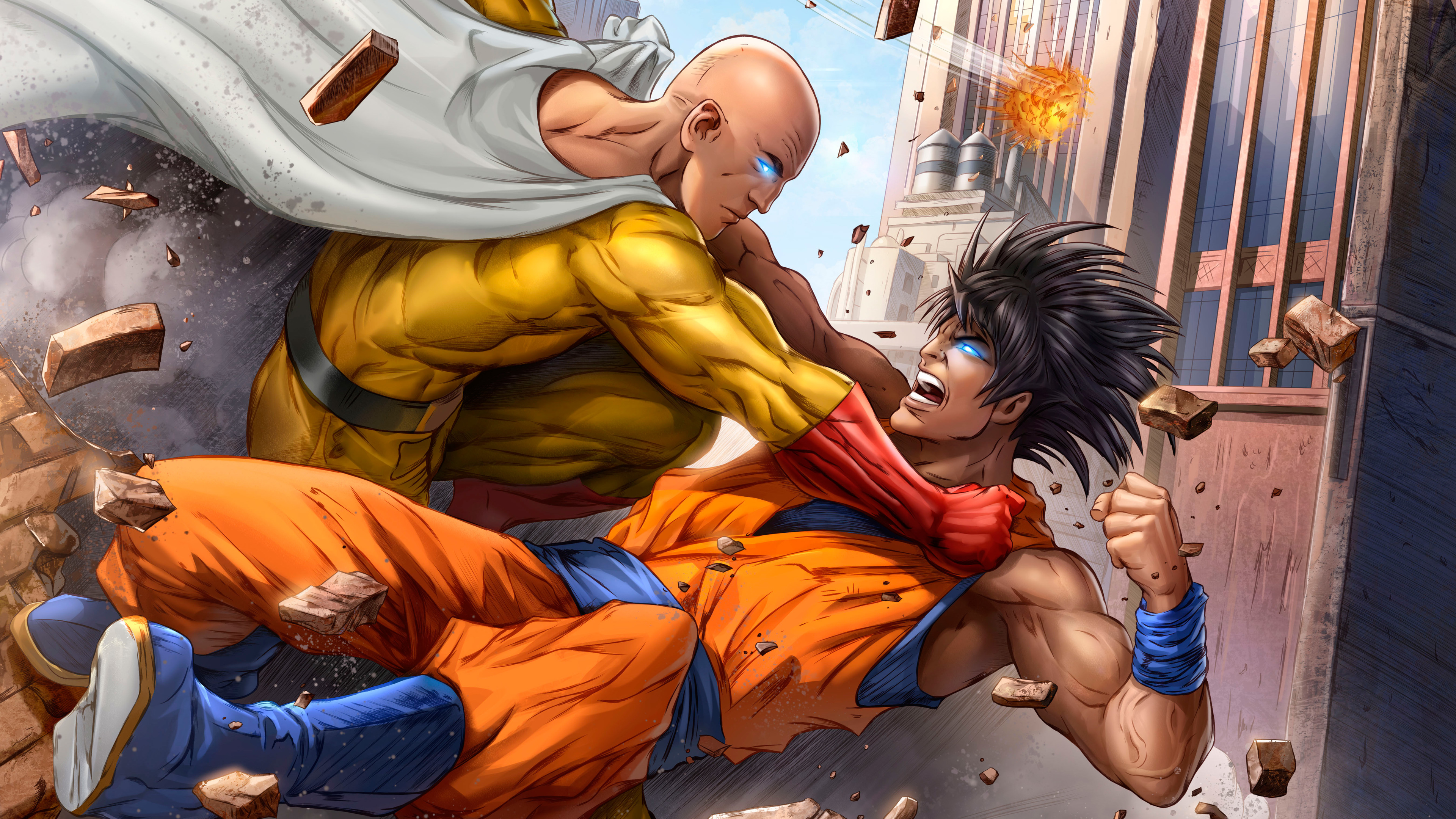 goku and one punch man 5k art 1537646015 - Goku And One Punch Man 5k Art - superheroes wallpapers, one punch man wallpapers, hd-wallpapers, goku wallpapers, artwork wallpapers, anime wallpapers, 5k wallpapers, 4k-wallpapers