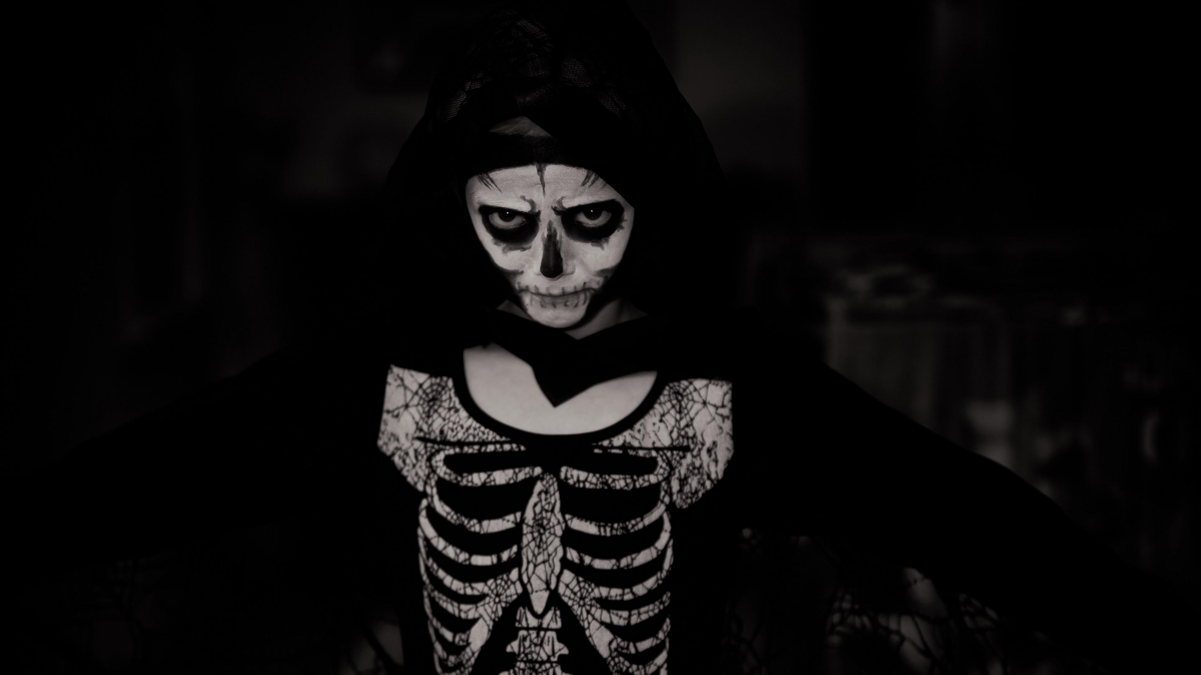 halloween costume skeleton bw 4k 1538344866 - halloween, costume, skeleton, bw 4k - skeleton, halloween, costume