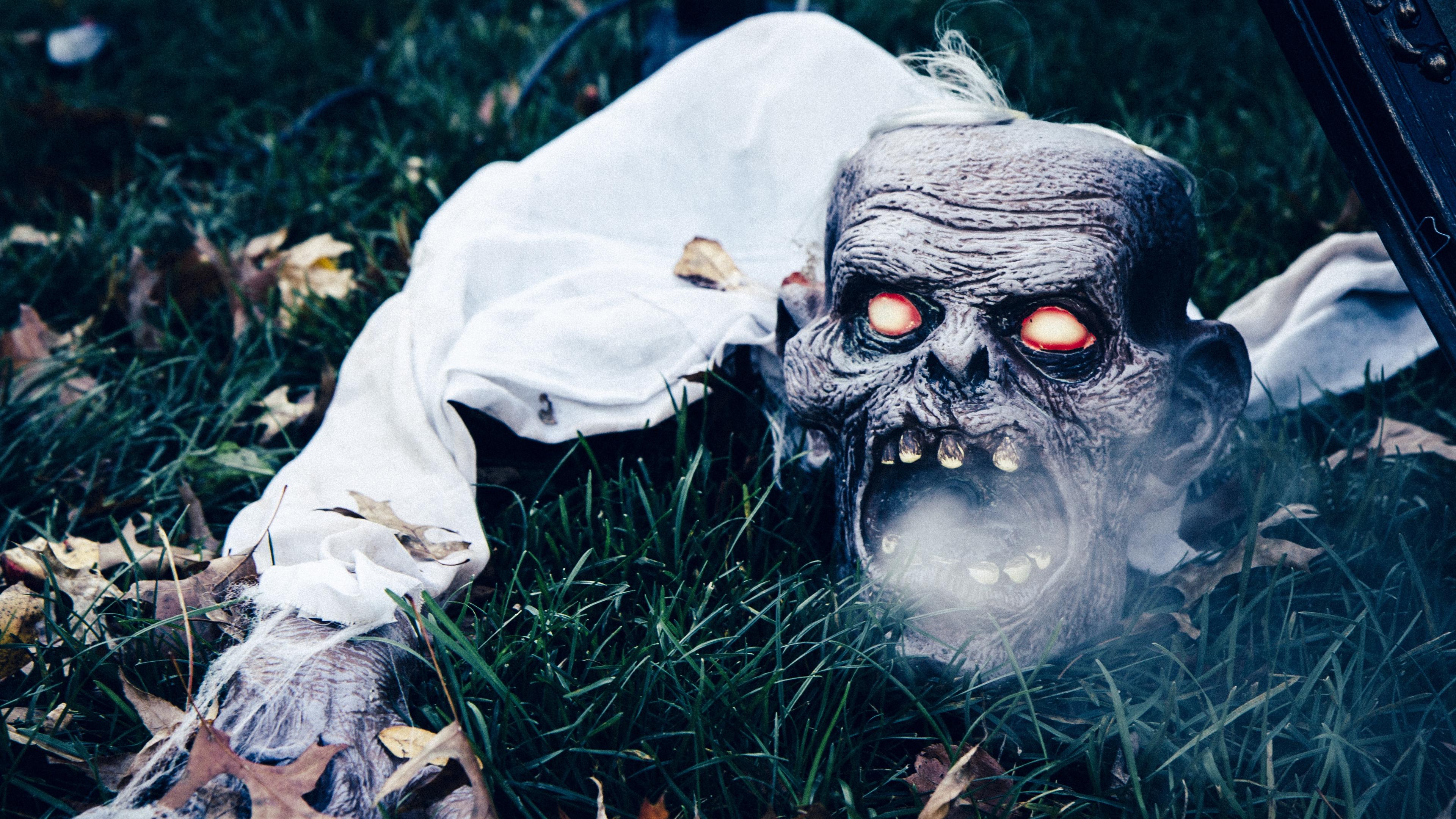 halloween mask scary grass 4k 1538344742 - halloween, mask, scary, grass 4k - Scary, Mask, halloween