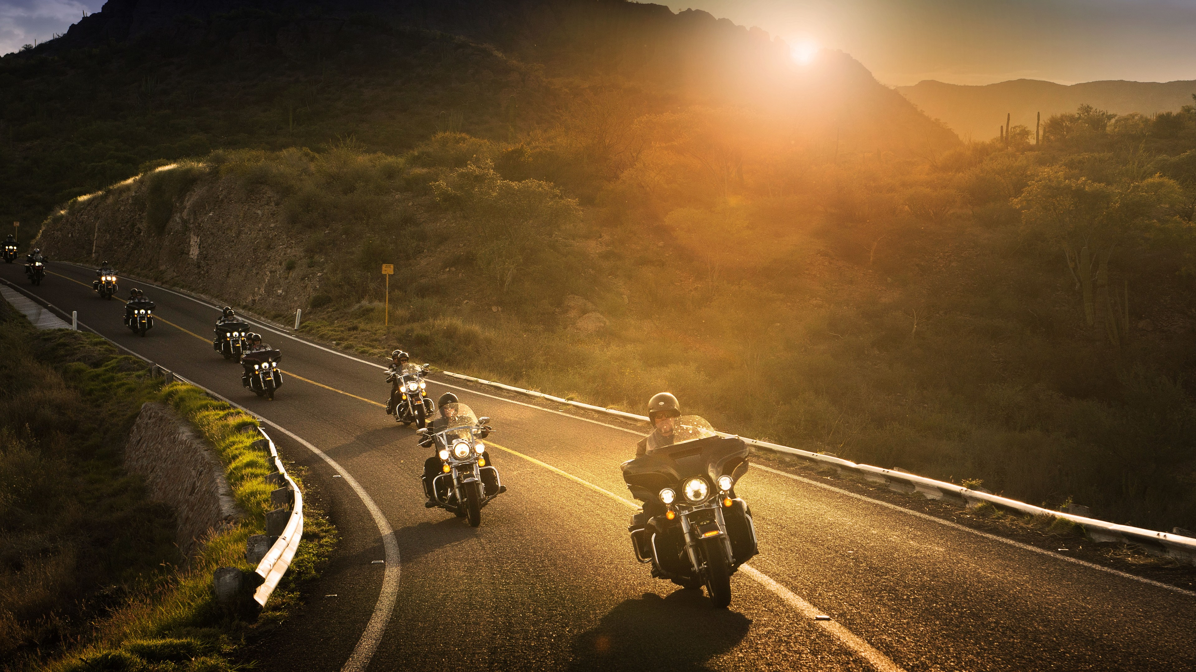 Harley Davidson Riders 8k Sunset Wallpapers, Photography
