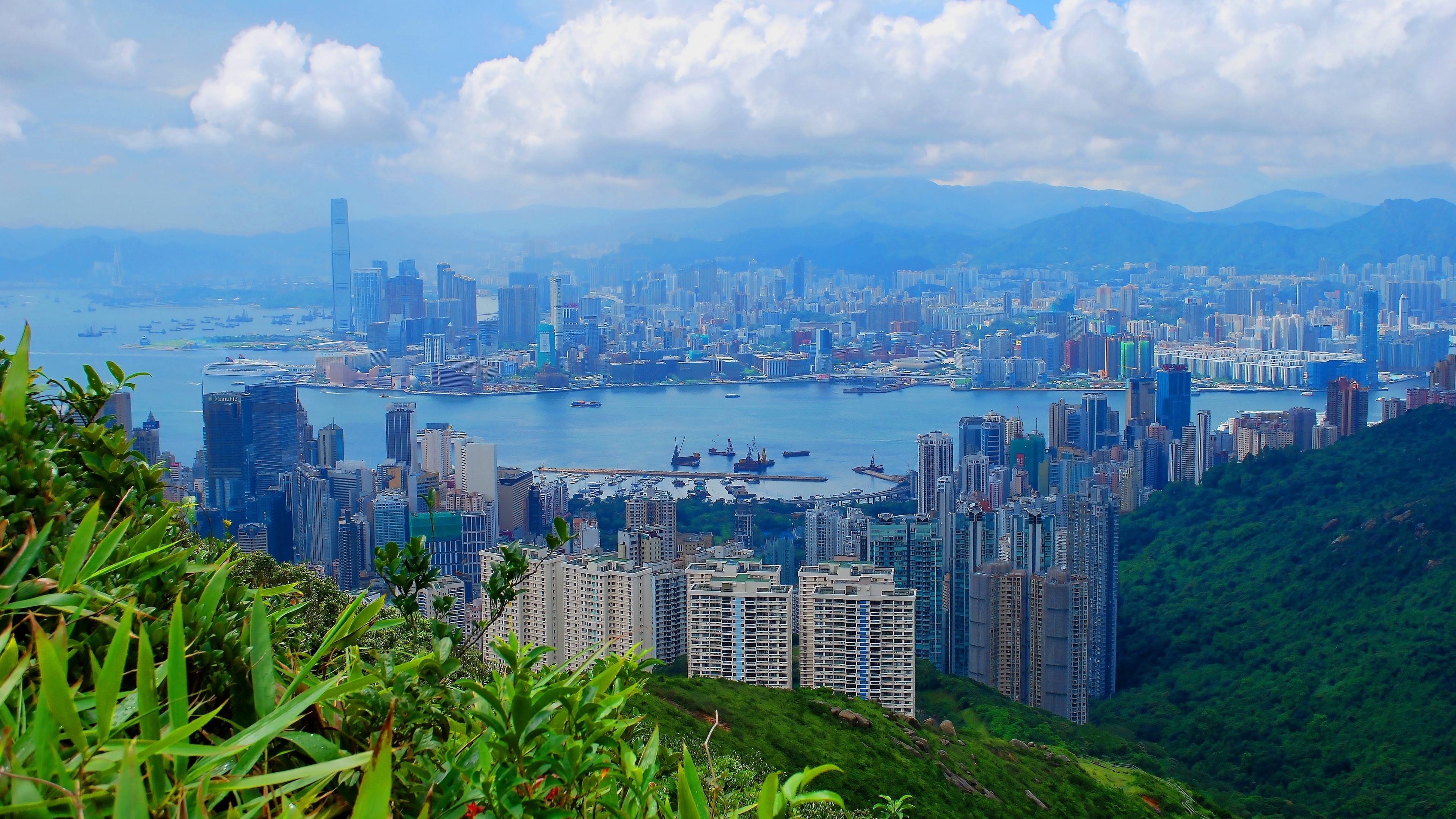 hong kong building top view sky 4k 1538066345 - hong kong, building, top view, sky 4k - top view, hong kong, Building