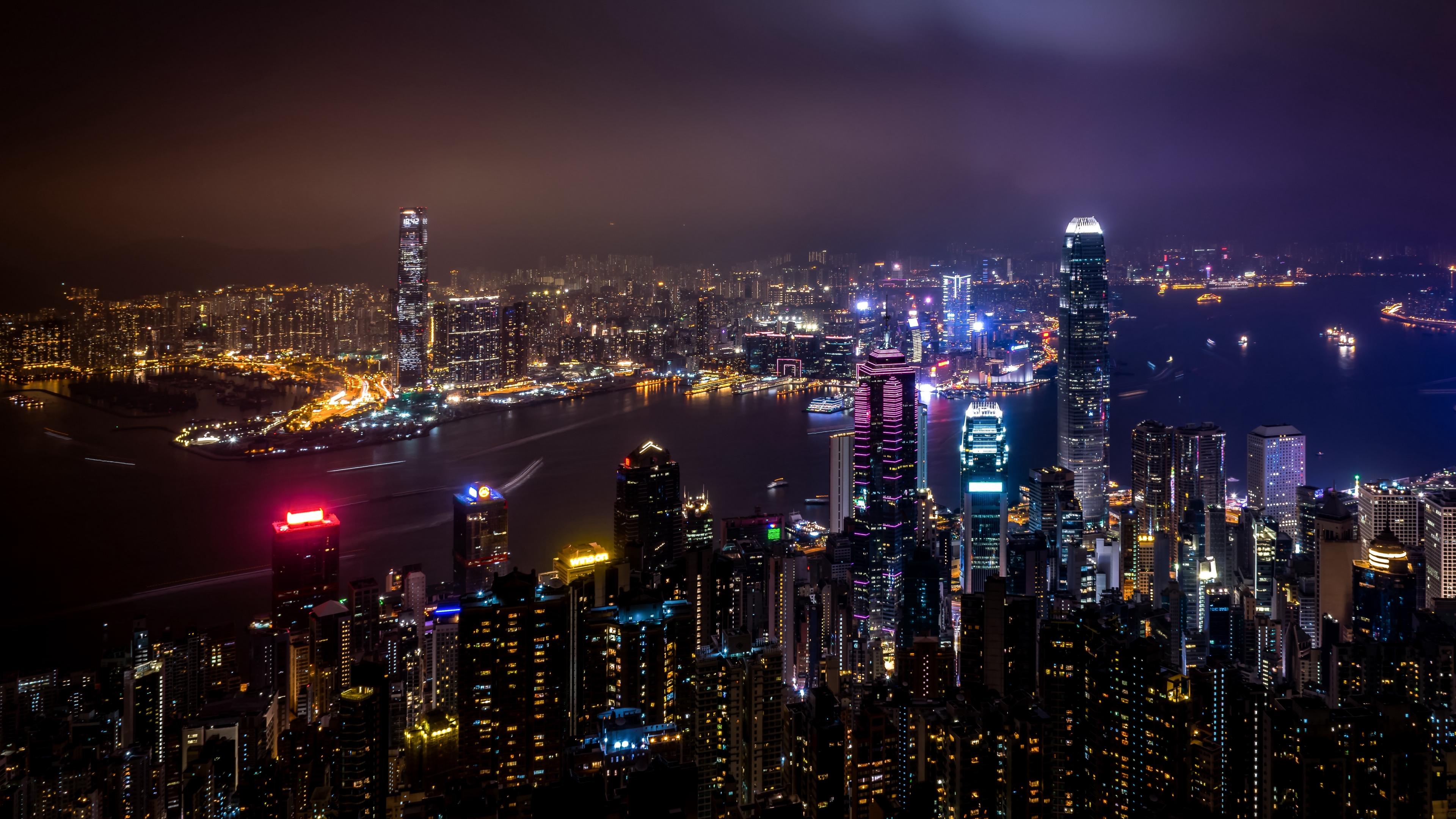 hong kong china skyscrapers night city city lights 4k 1538068866 - hong kong, china, skyscrapers, night city, city lights 4k - Skyscrapers, hong kong, China