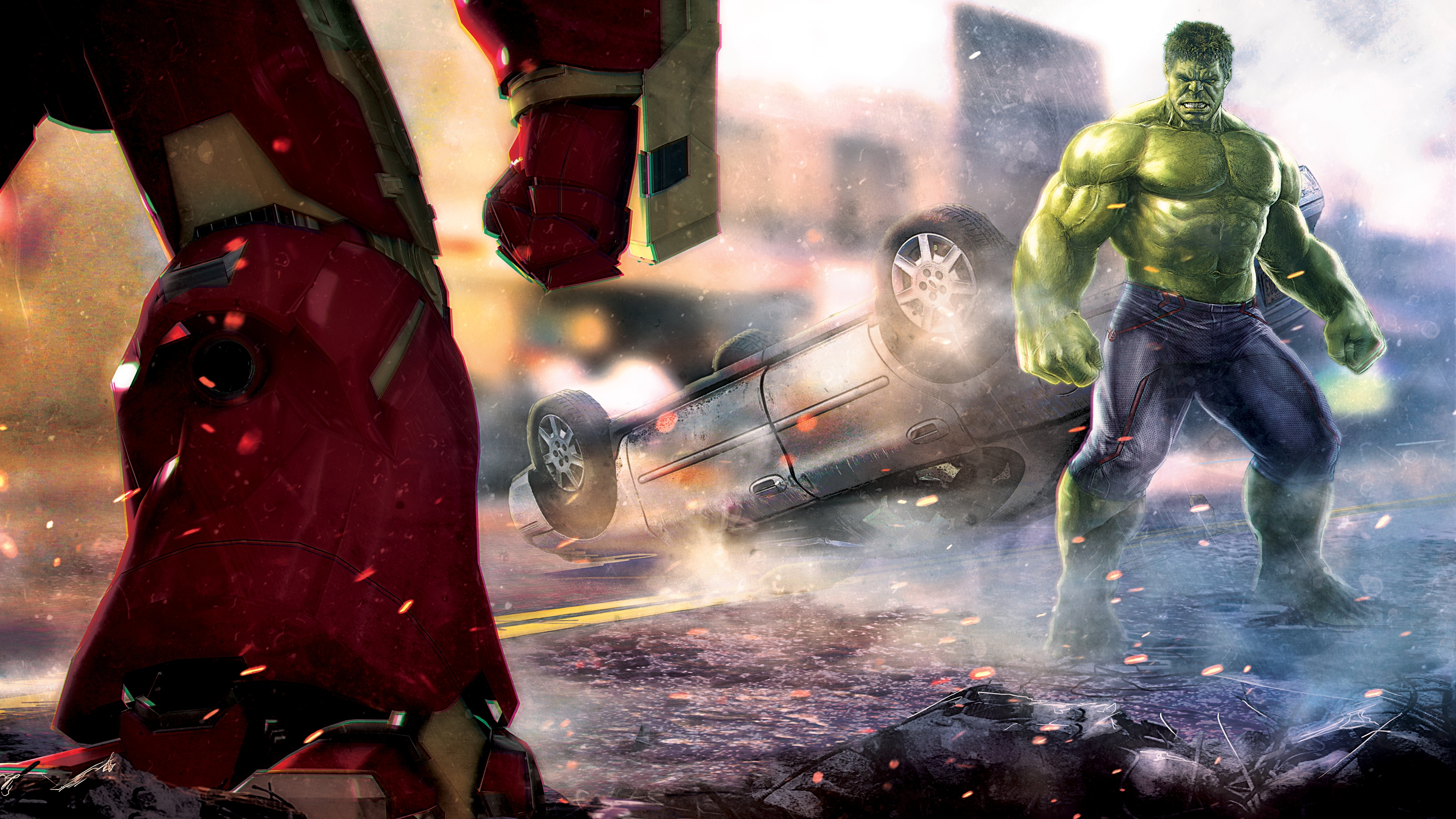 hulk and iron hulkuster fighting artwork 1536521738 - Hulk And Iron Hulkuster Fighting Artwork - superheroes wallpapers, hulk wallpapers, hd-wallpapers, artwork wallpapers, 5k wallpapers, 4k-wallpapers
