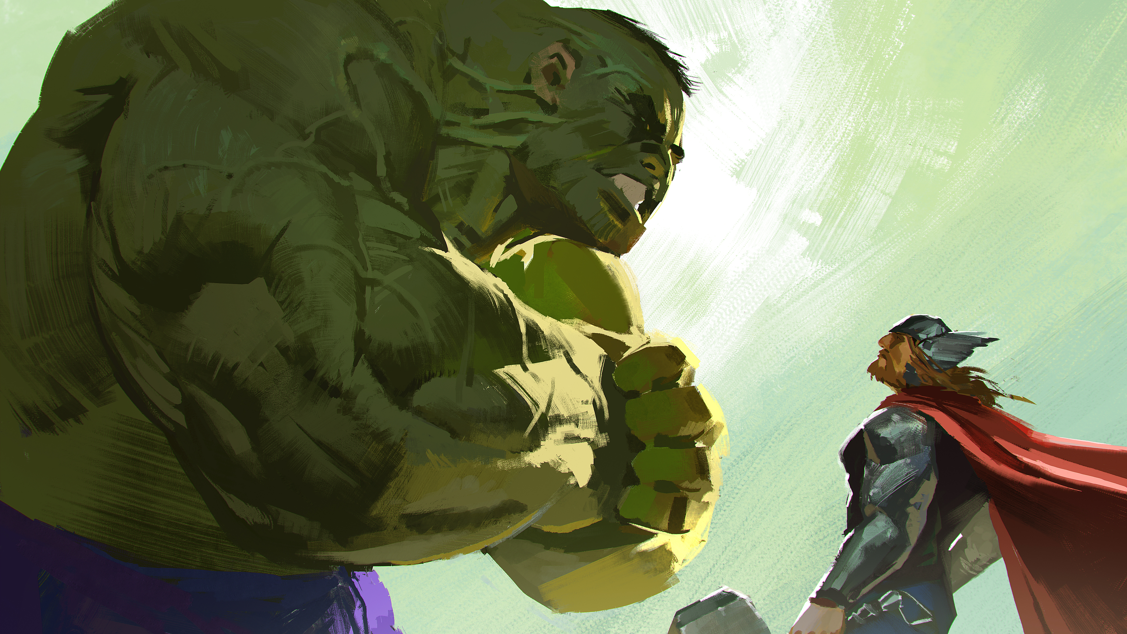 hulk and thor artwork 1536521555 - Hulk And Thor Artwork - thor wallpapers, superheroes wallpapers, hulk wallpapers, hd-wallpapers, deviantart wallpapers, artwork wallpapers, artist wallpapers, 5k wallpapers, 4k-wallpapers