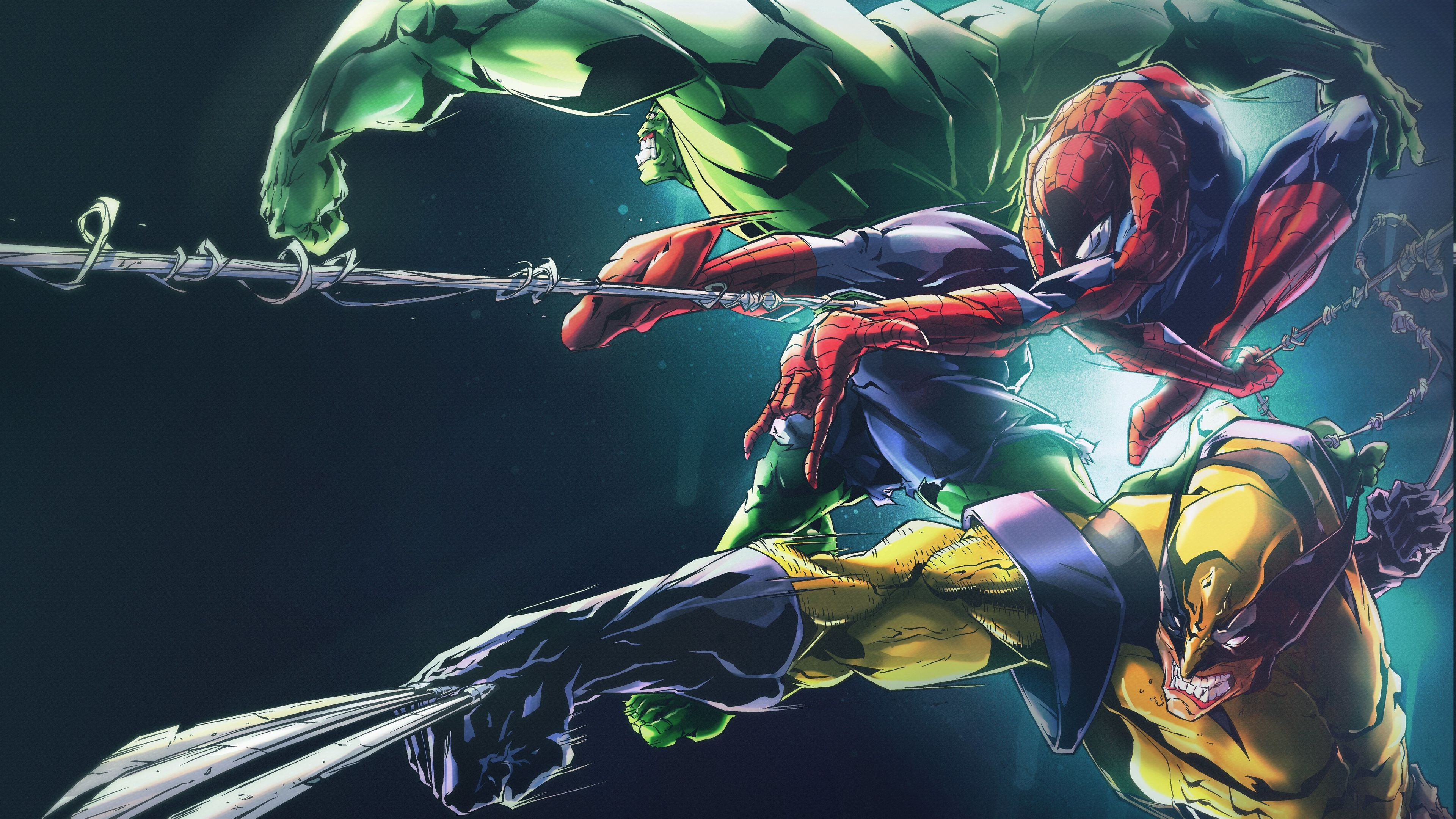 Wallpaper 4k Hulk Spider Man Wolverine 8k 4k Wallpapers 5k