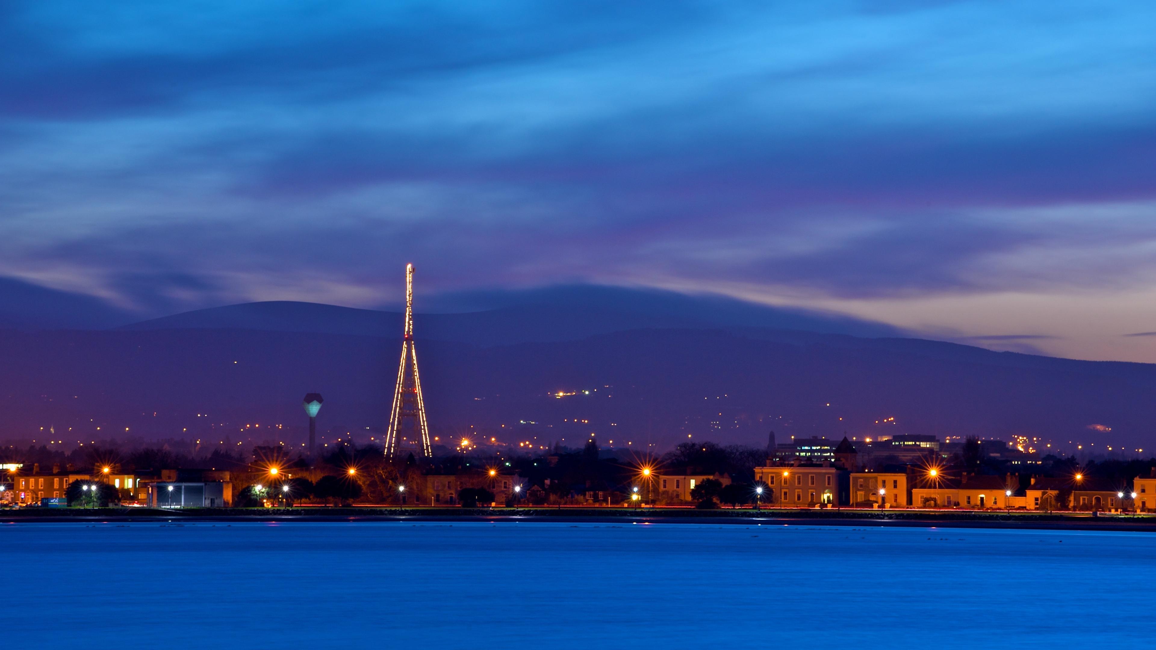 ireland dublin evening dusk sky blue clouds mountains houses lights quay river 4k 1538065666 - ireland, dublin, evening, dusk, sky, blue, clouds, mountains, houses, lights, quay, river 4k - Ireland, Evening, dublin