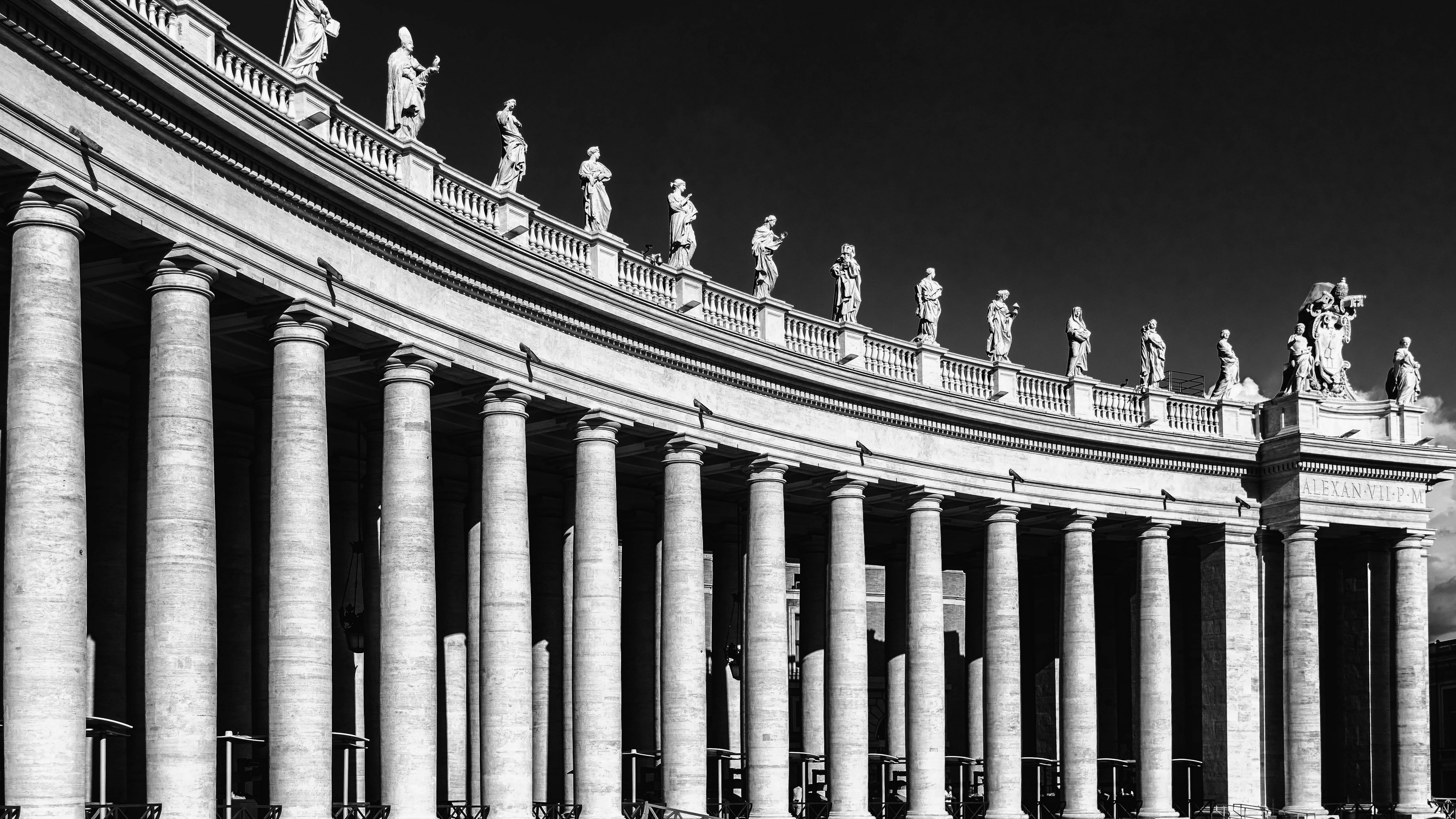italy rome st peters square bw 4k 1538065238 - italy, rome, st peters square, bw 4k - st peters square, Rome, Italy