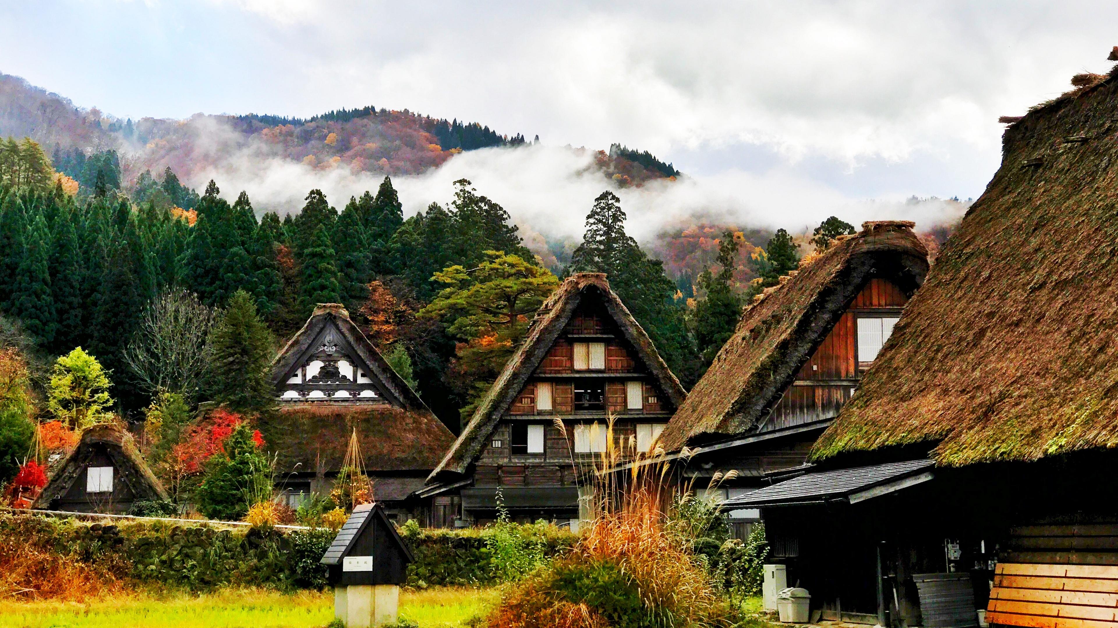 japan shirakawa houses mountains trees 4k 1538066847 - japan, shirakawa, houses, mountains, trees 4k - shirakawa, Japan, Houses