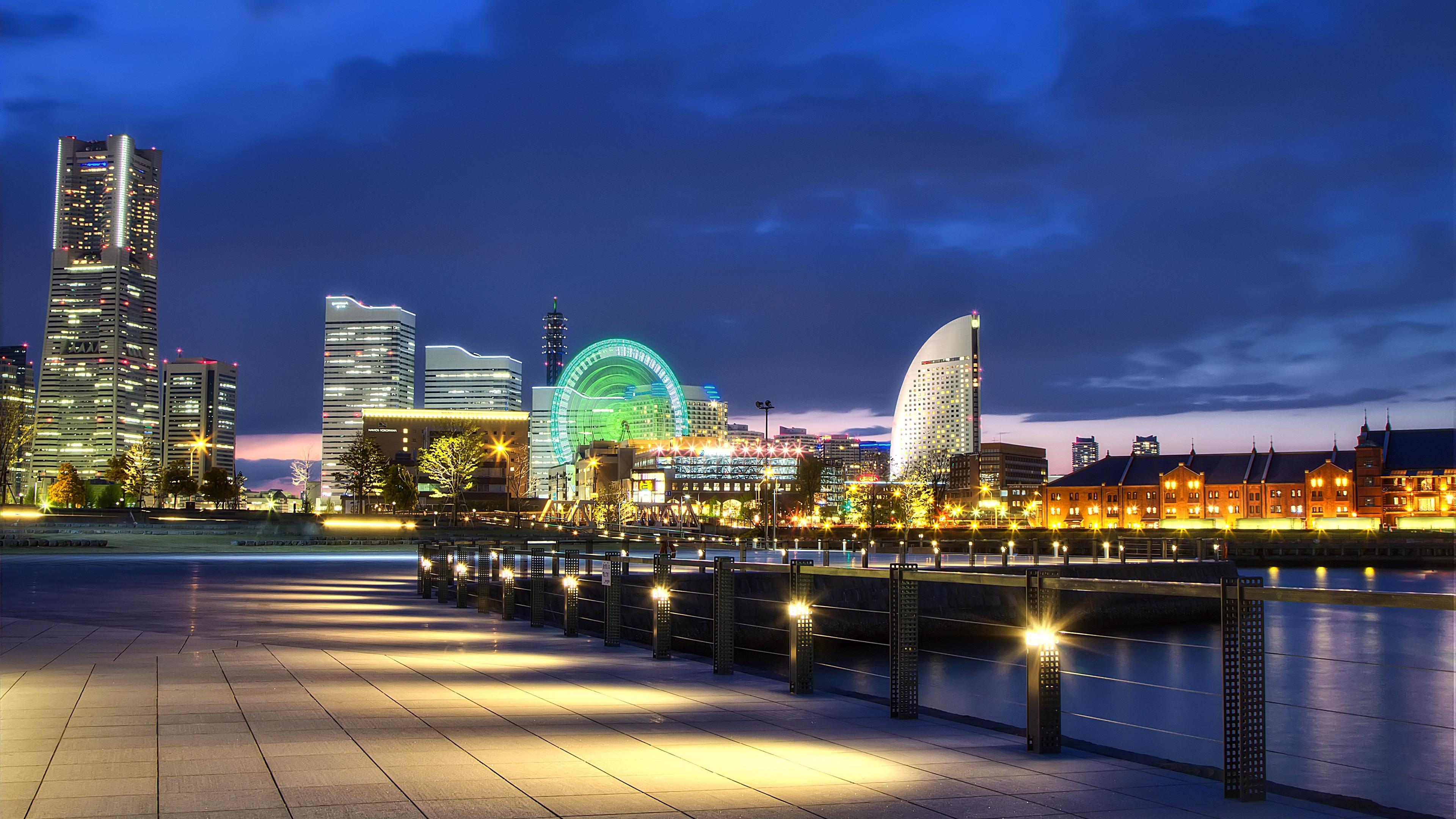 japan yokohama port metropolis night lights promenade bay 4k 1538065645 - japan, yokohama, port, metropolis, night, lights, promenade, bay 4k - Yokohama, port, Japan