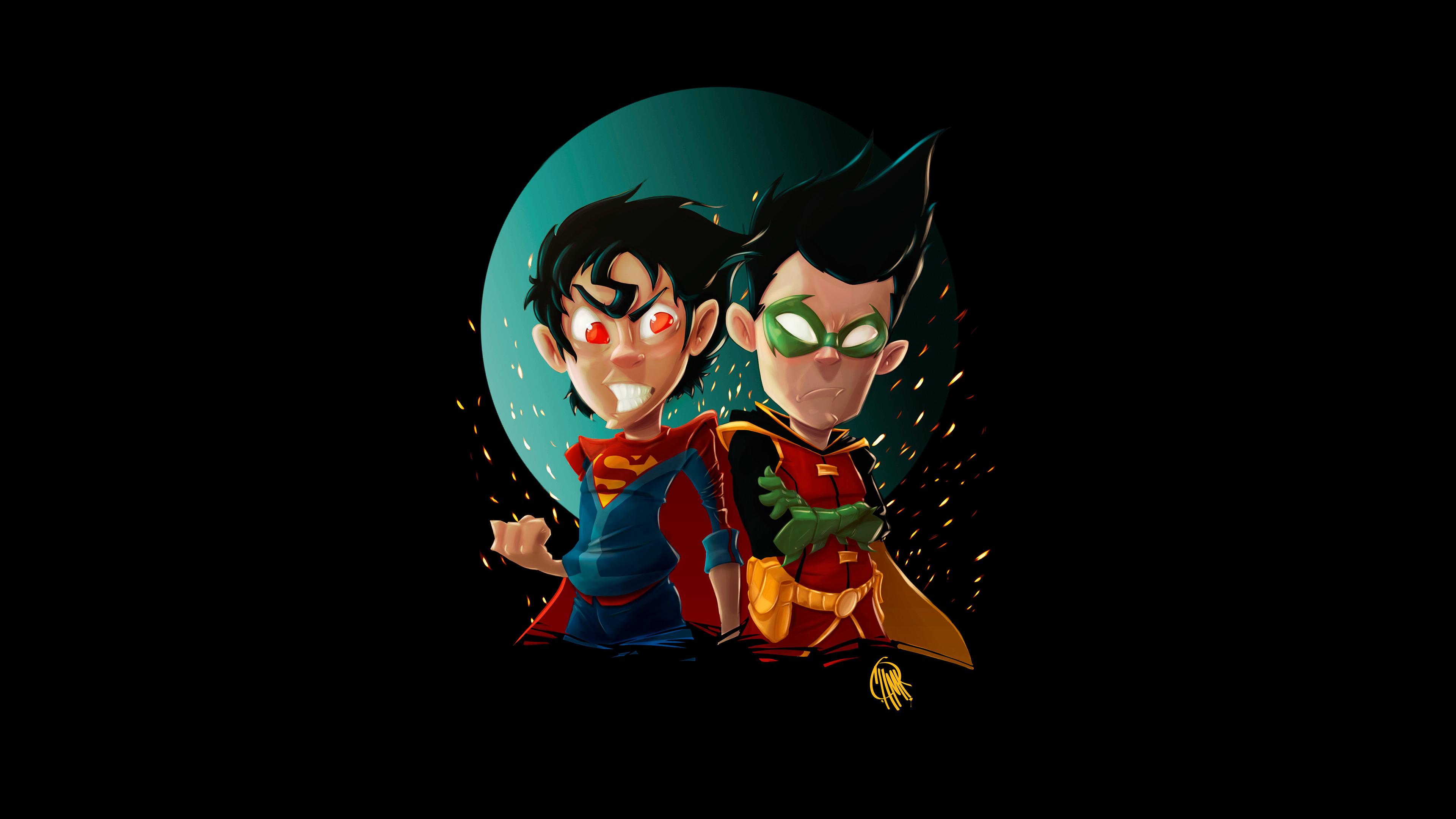 kid superman and robin 1536523095 - Kid Superman And Robin - superman wallpapers, superheroes wallpapers, robin wallpapers, hd-wallpapers, digital art wallpapers, artwork wallpapers, artstation wallpapers, artist wallpapers, 4k-wallpapers