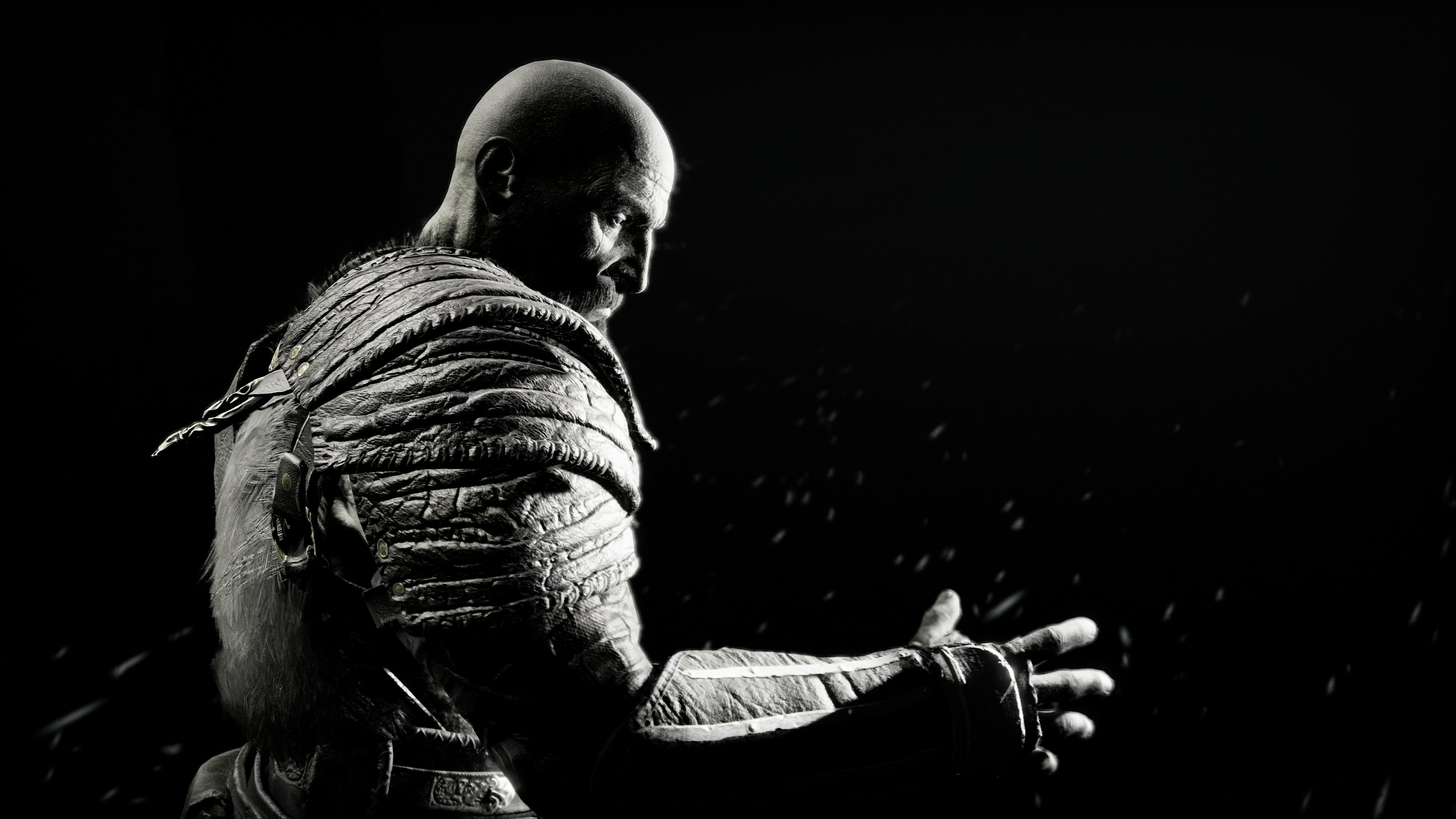 kratos in god of war 4k 1537691116 - Kratos In God Of War 4K - ps games wallpapers, monochrome wallpapers, kratos wallpapers, hd-wallpapers, god of war wallpapers, god of war 4 wallpapers, games wallpapers, black and white wallpapers, 4k-wallpapers, 2018 games wallpapers