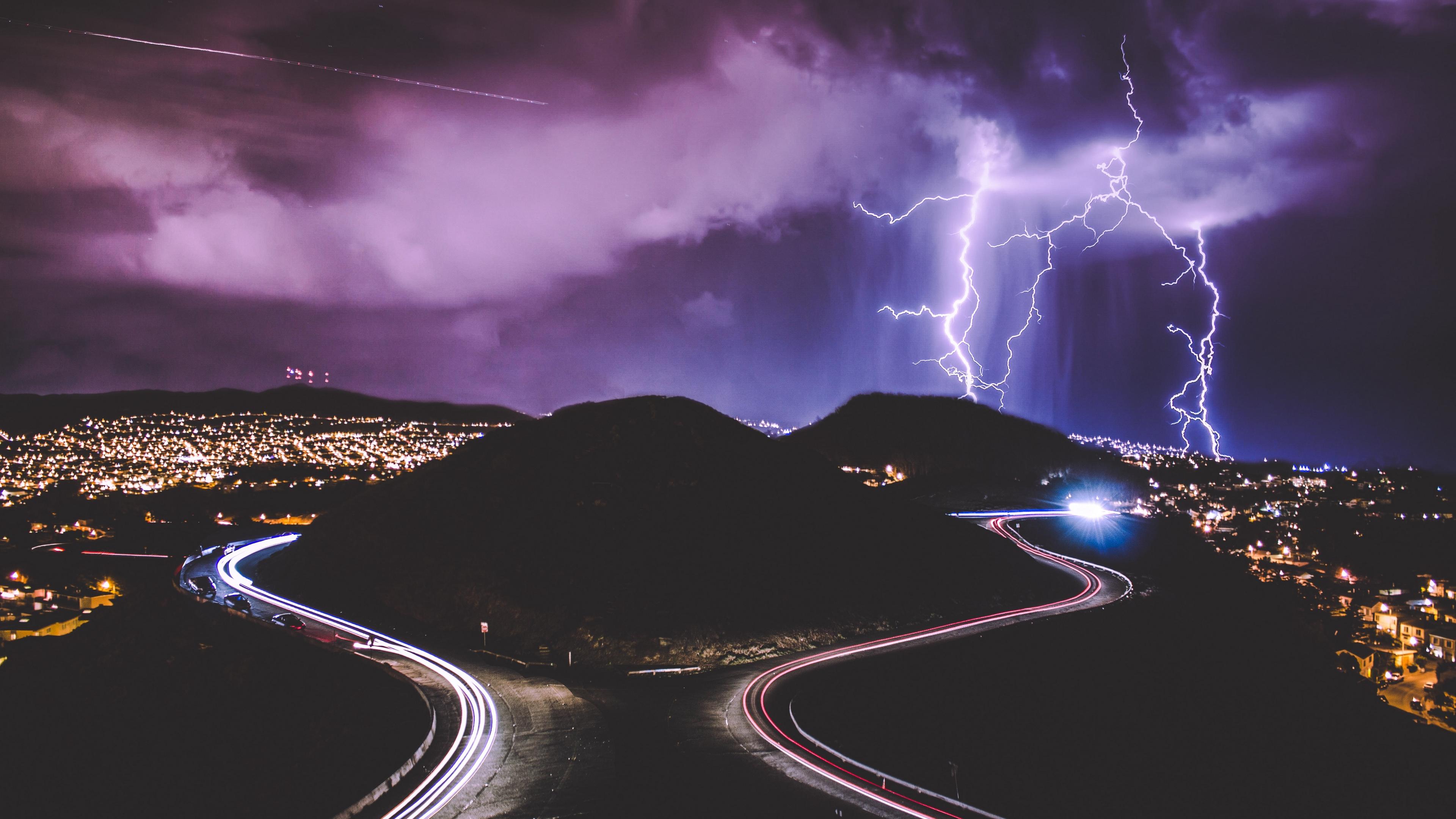 lightning road city night 4k 1538066833 - lightning, road, city, night 4k - Road, Lightning, City