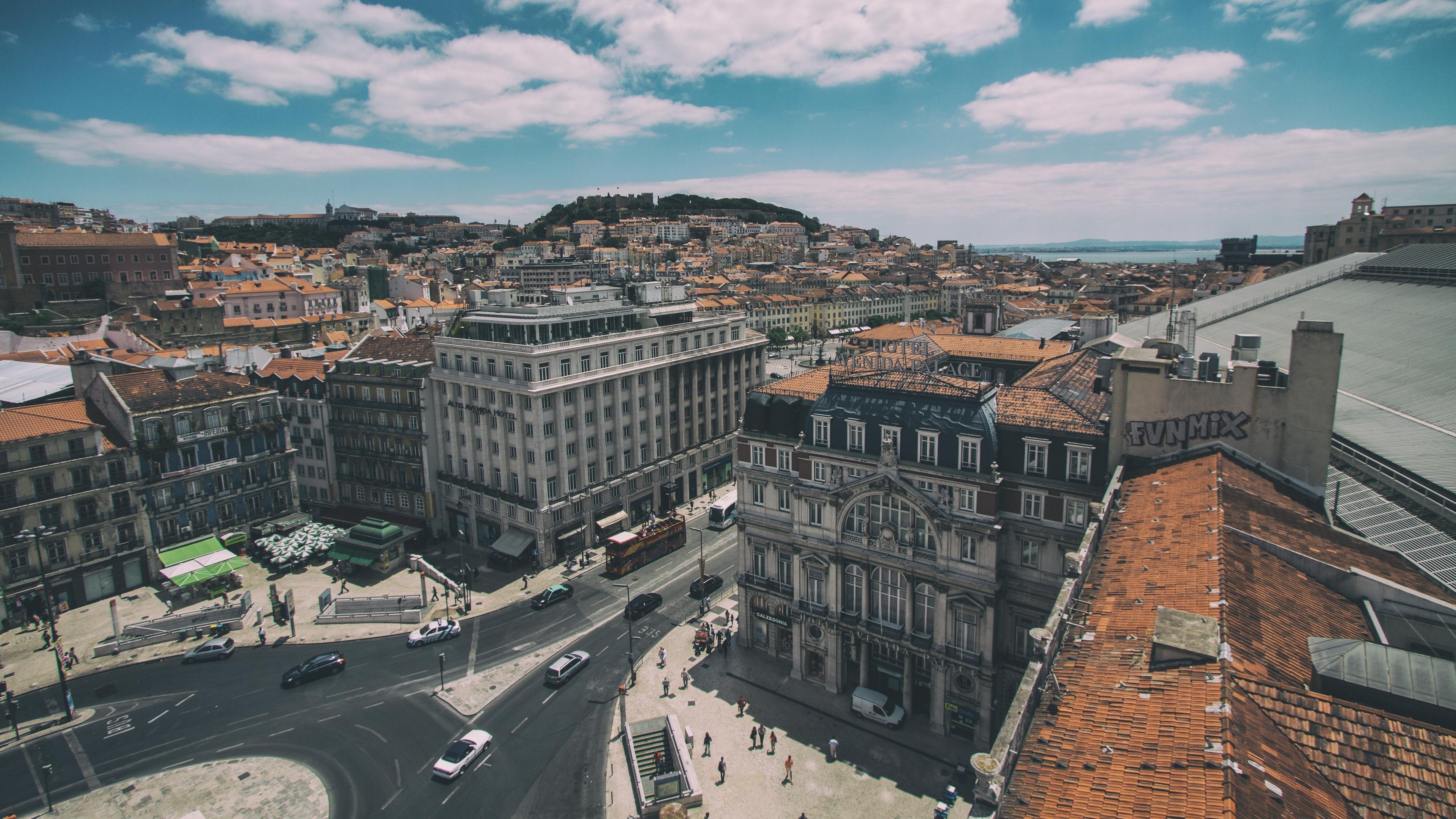 lisbon portugal buildings view from above 4k 1538065659 - lisbon, portugal, buildings, view from above 4k - Portugal, Lisbon, buildings
