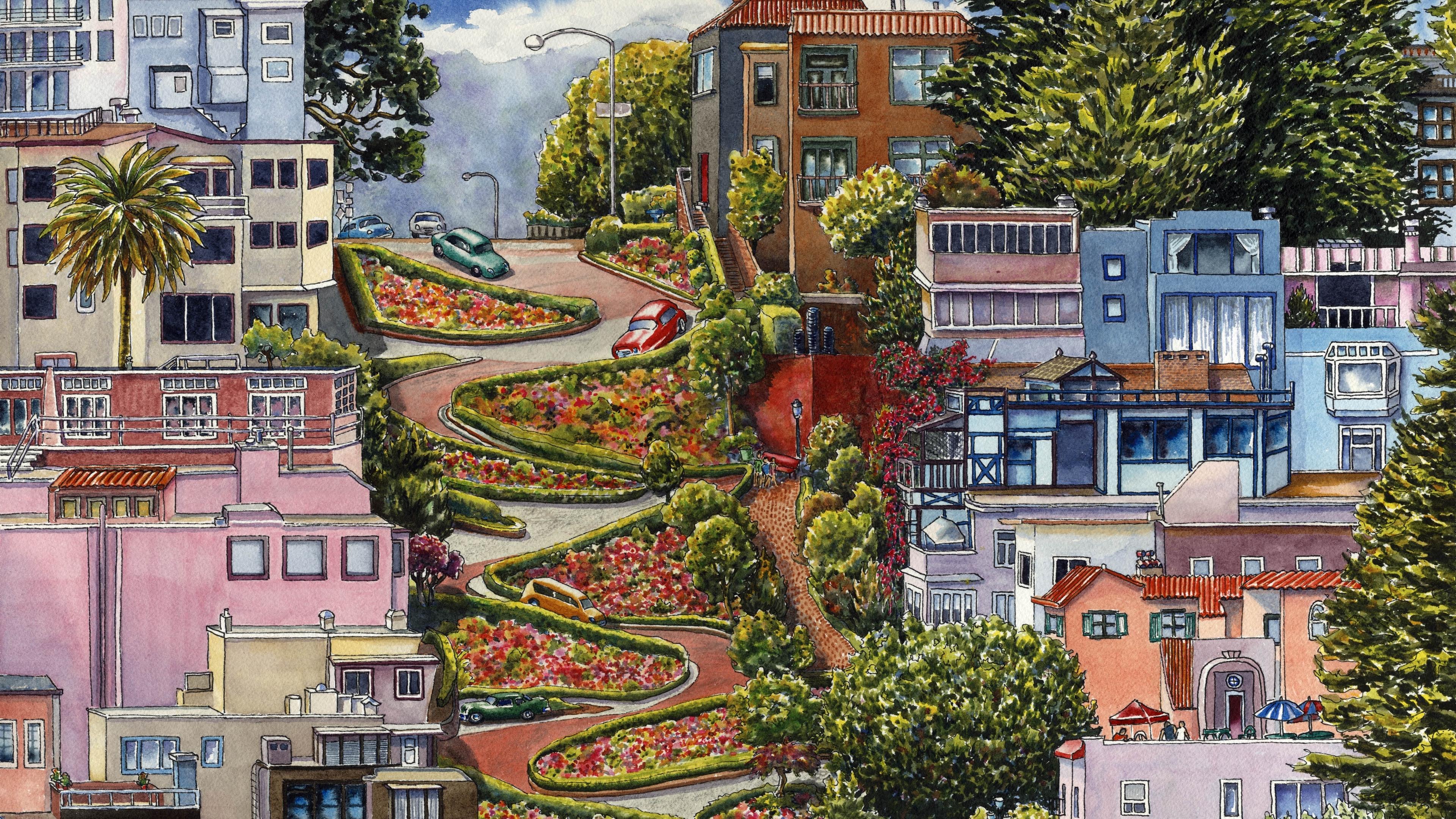 lombard street san francisco california art 4k 1538066349 - lombard street, san francisco, california, art 4k - san francisco, lombard street, California