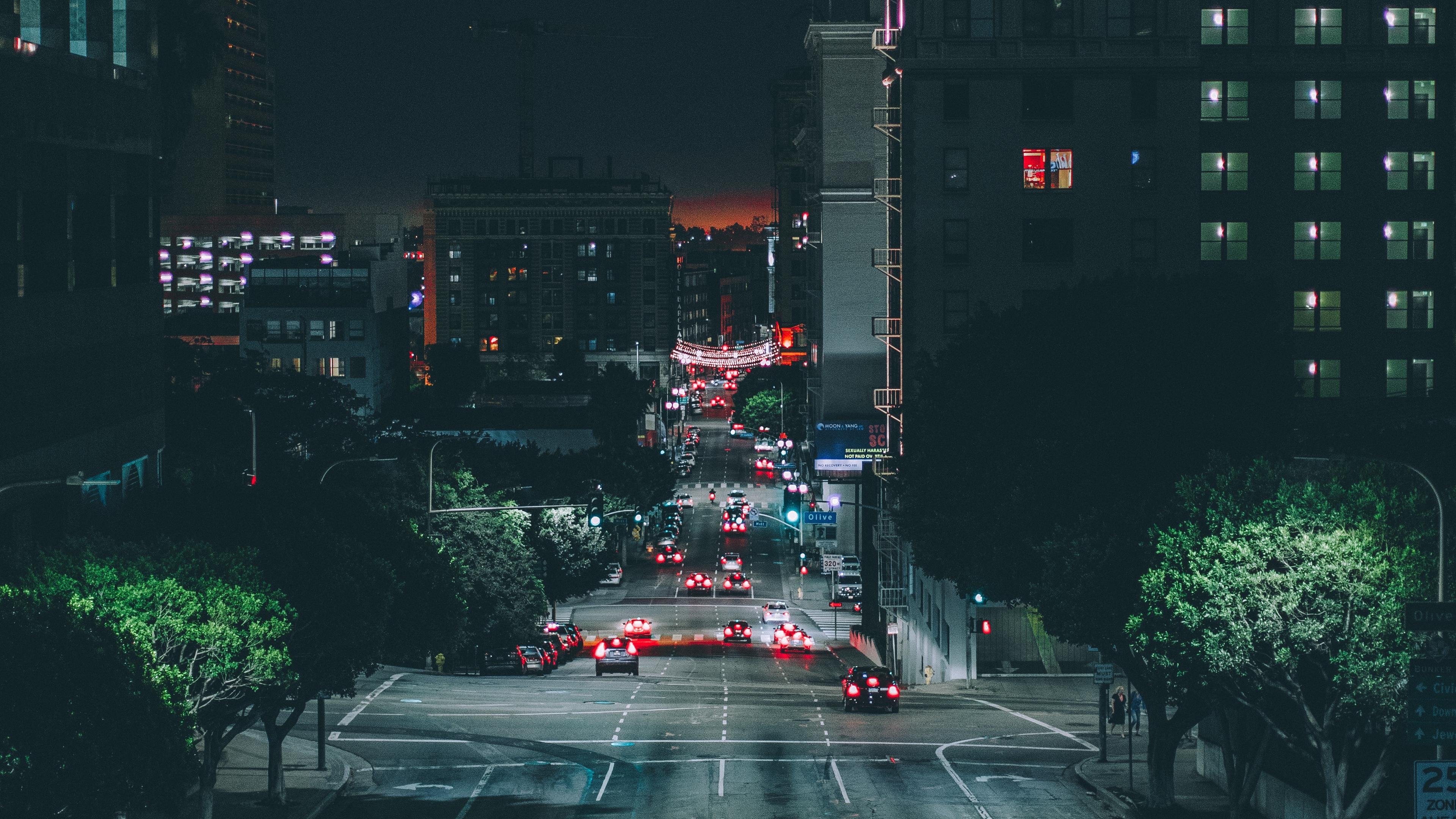 los angeles night city road traffic 4k 1538068451 - los angeles, night city, road, traffic 4k - Road, night city, los angeles