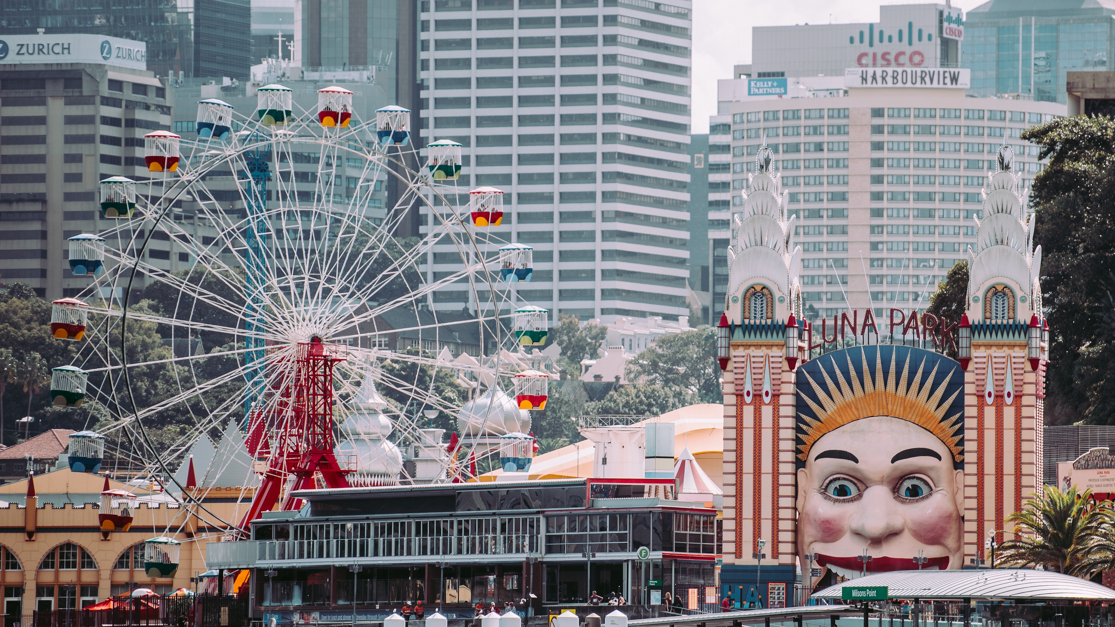 luna park sydney milsons point australia ferris wheel attractions 4k 1538066452 - luna park, sydney, milsons point, australia, ferris wheel, attractions 4k - Sydney, milsons point, luna park
