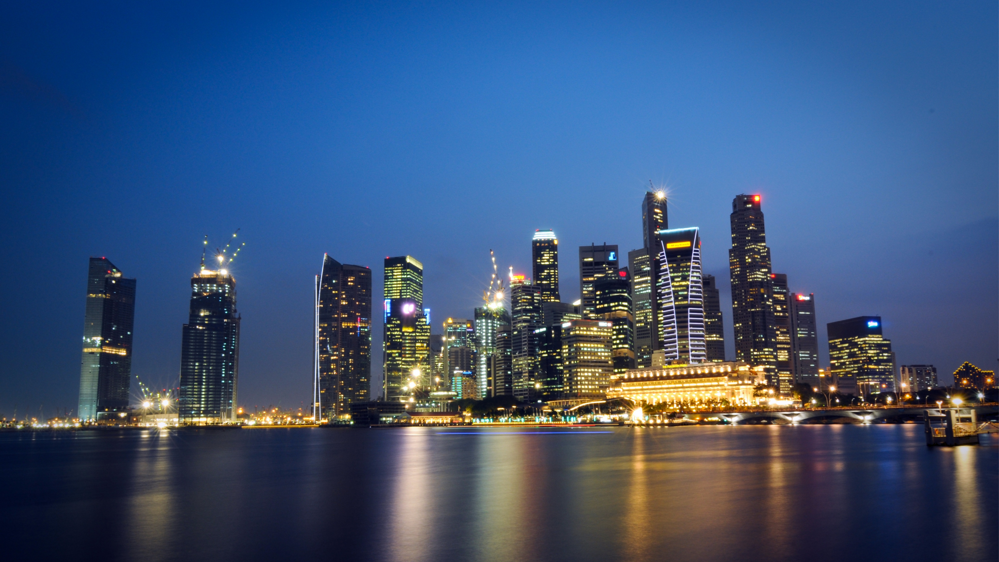 malaysia singapore city state metropolis skyscrapers night lights light blue sky shedding reflection hdr 4k 1538065417 - malaysia, singapore, city-state, metropolis, skyscrapers, night lights, light blue, sky, shedding, reflection, hdr 4k - Singapore, Malaysia, city-state