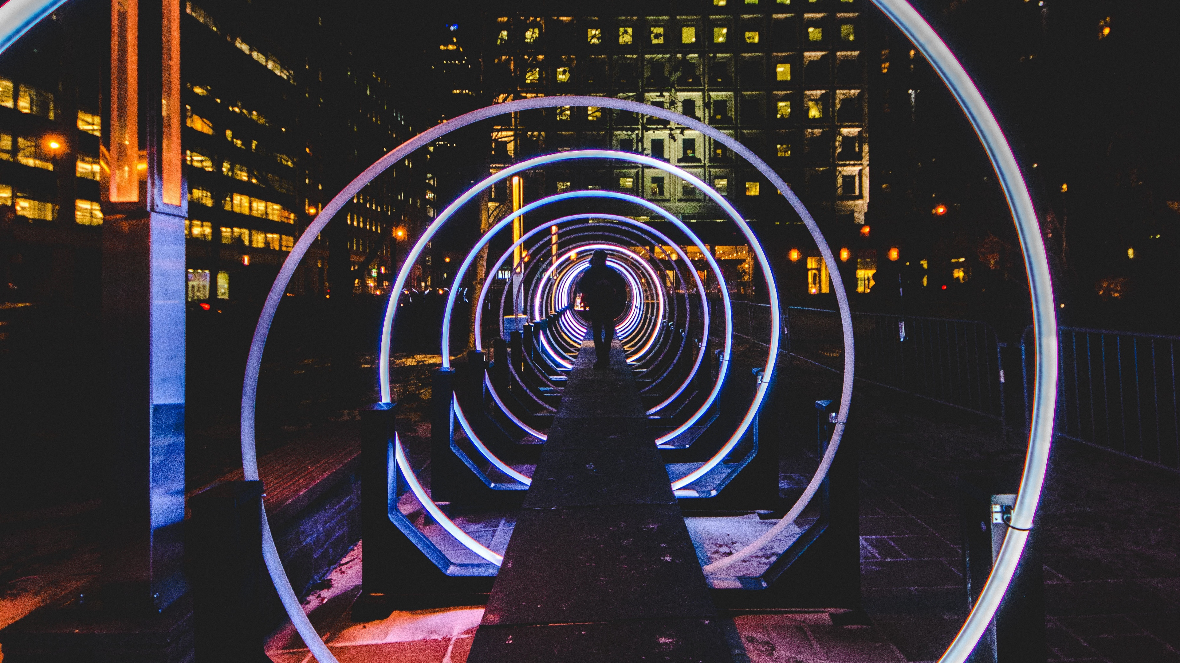 man silhouette tunnel city night 4k 1538068001 - man, silhouette, tunnel, city, night 4k - Tunnel, Silhouette, Man