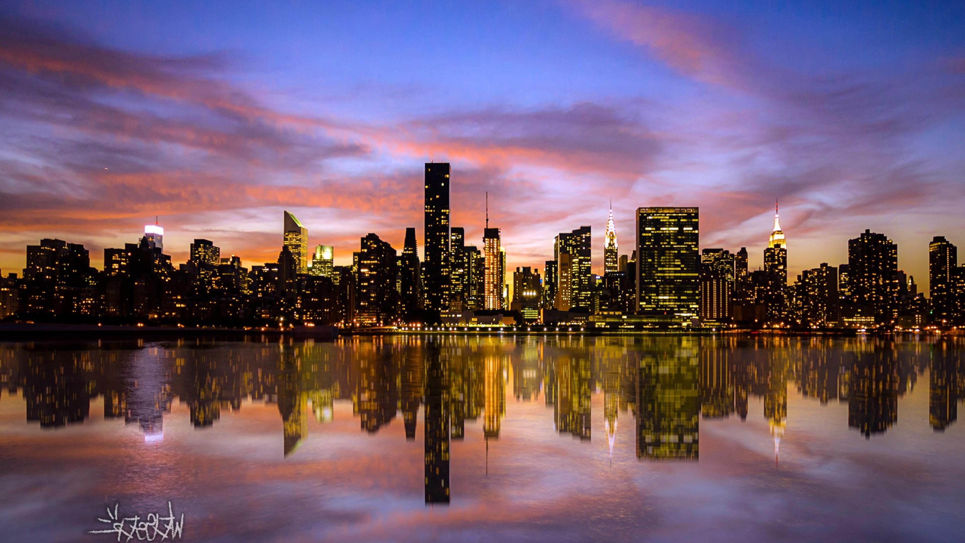 Wallpaper 4k Manhattan Sunset Desktop Beautiful Places Wallpapers Manhattan Wallpapers Nature Wallpapers Sunset Wallpapers World Wallpapers