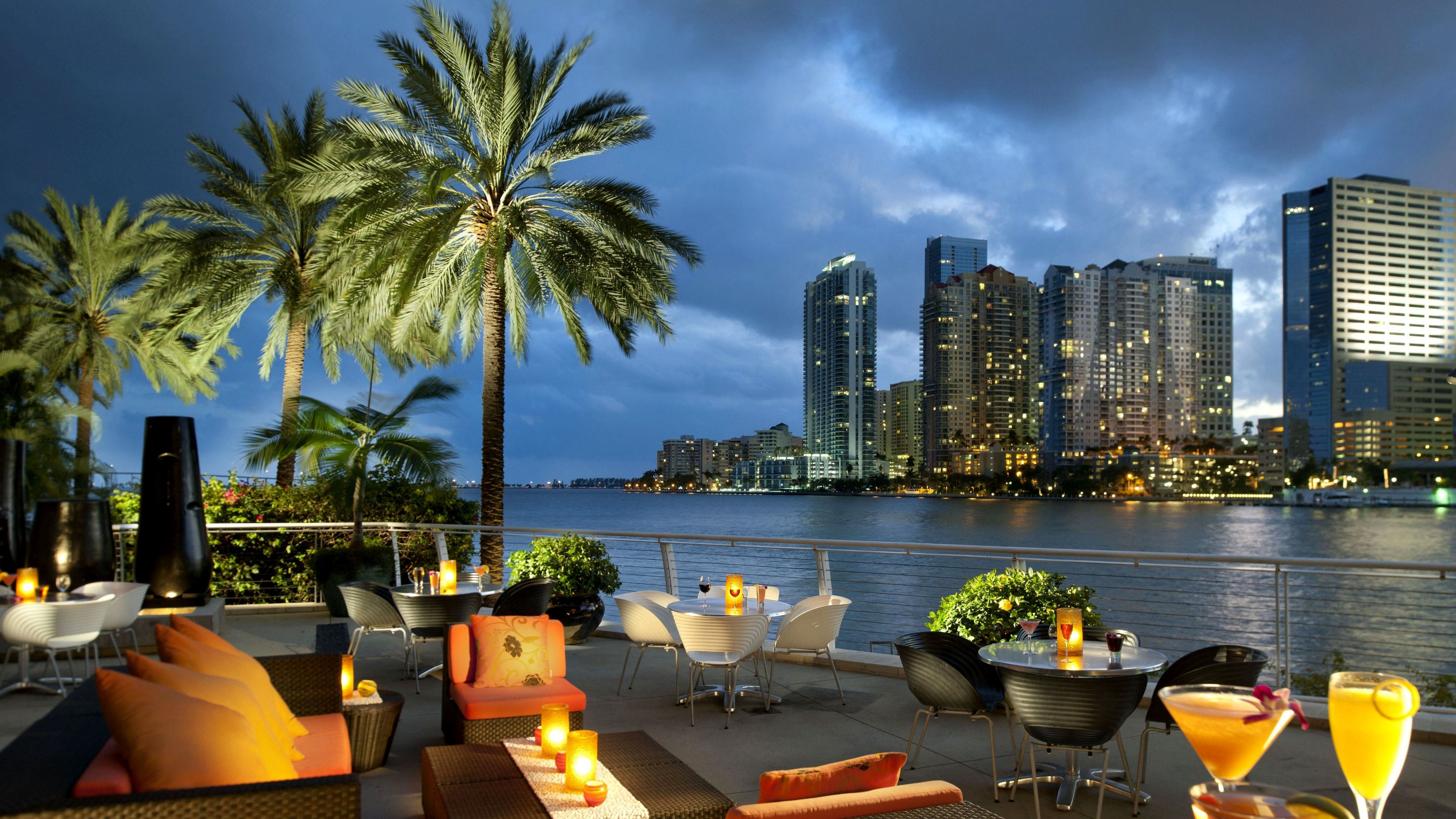 miami florida usa city ocean bay coffee palm trees tables 4k 1538068761 - miami, florida, usa, city, ocean, bay, coffee, palm trees, tables 4k - USA, Miami, florida