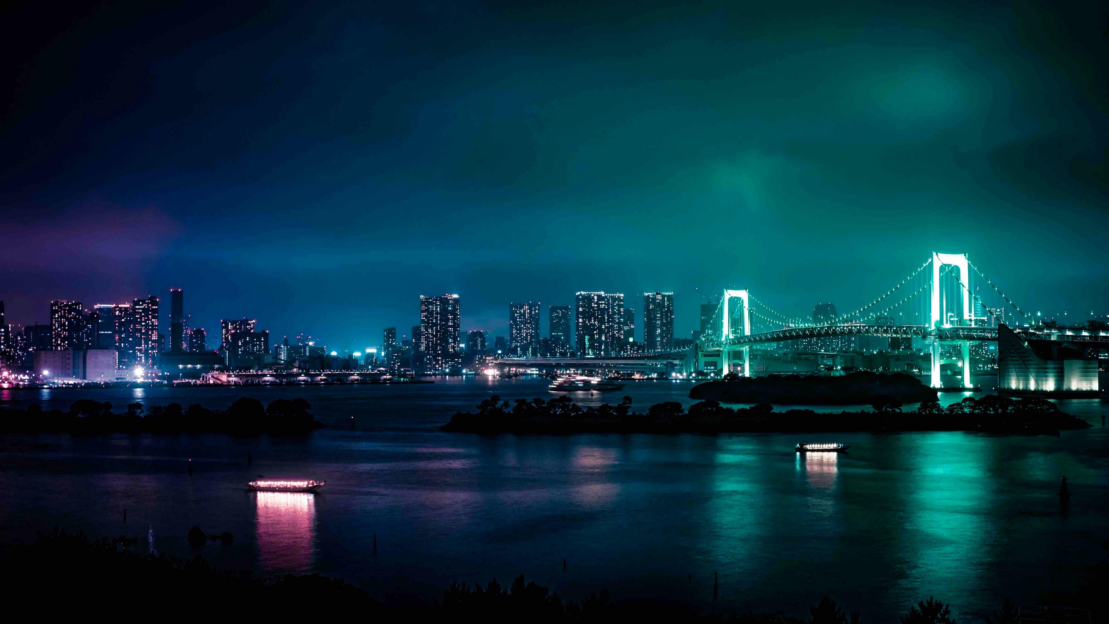 minato, japan, night city, bridge 4k night city, minato, Japan