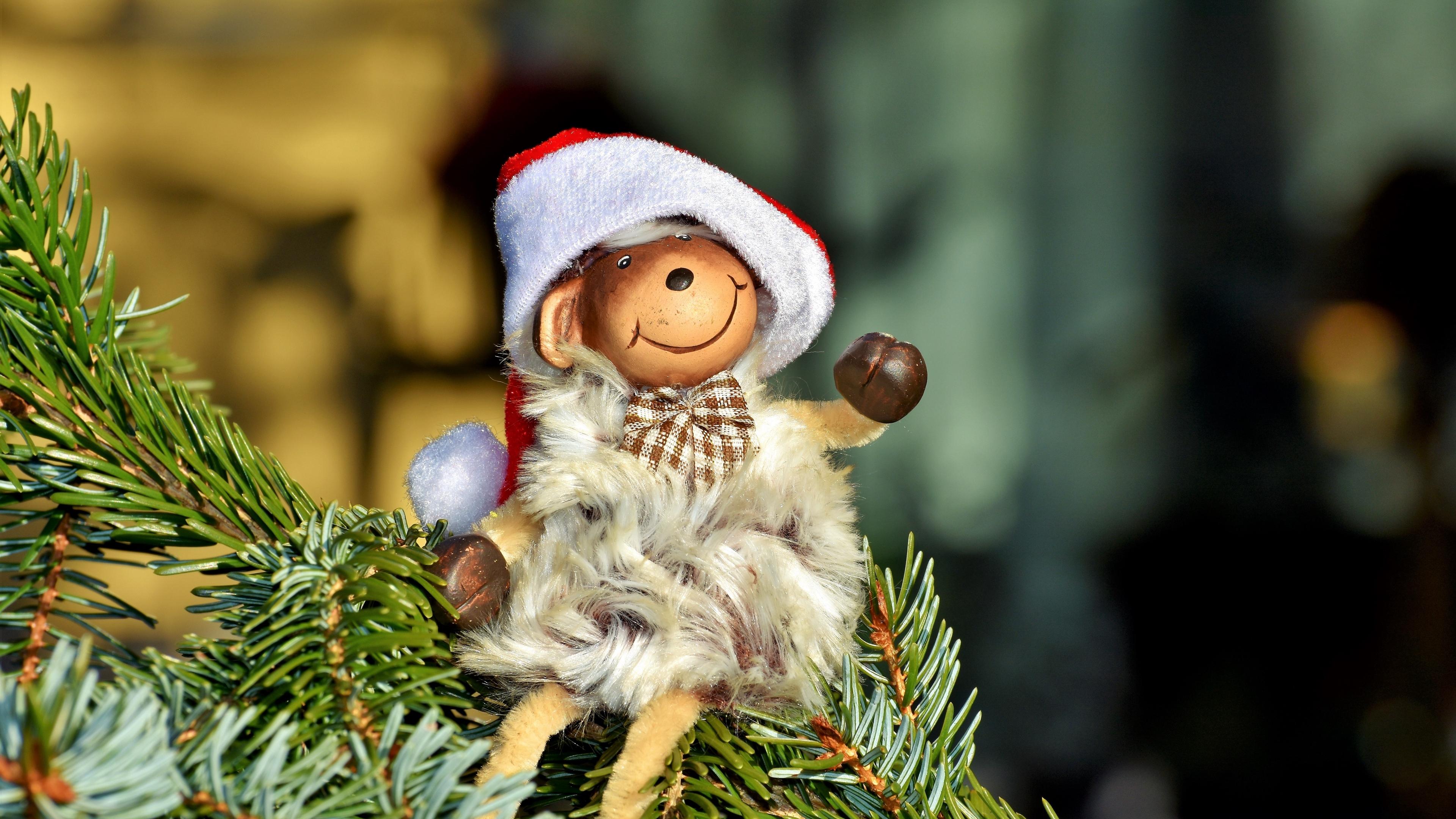 monkey new year fir toy 4k 1538344782 - monkey, new year, fir, toy 4k - new year, Monkey, fir