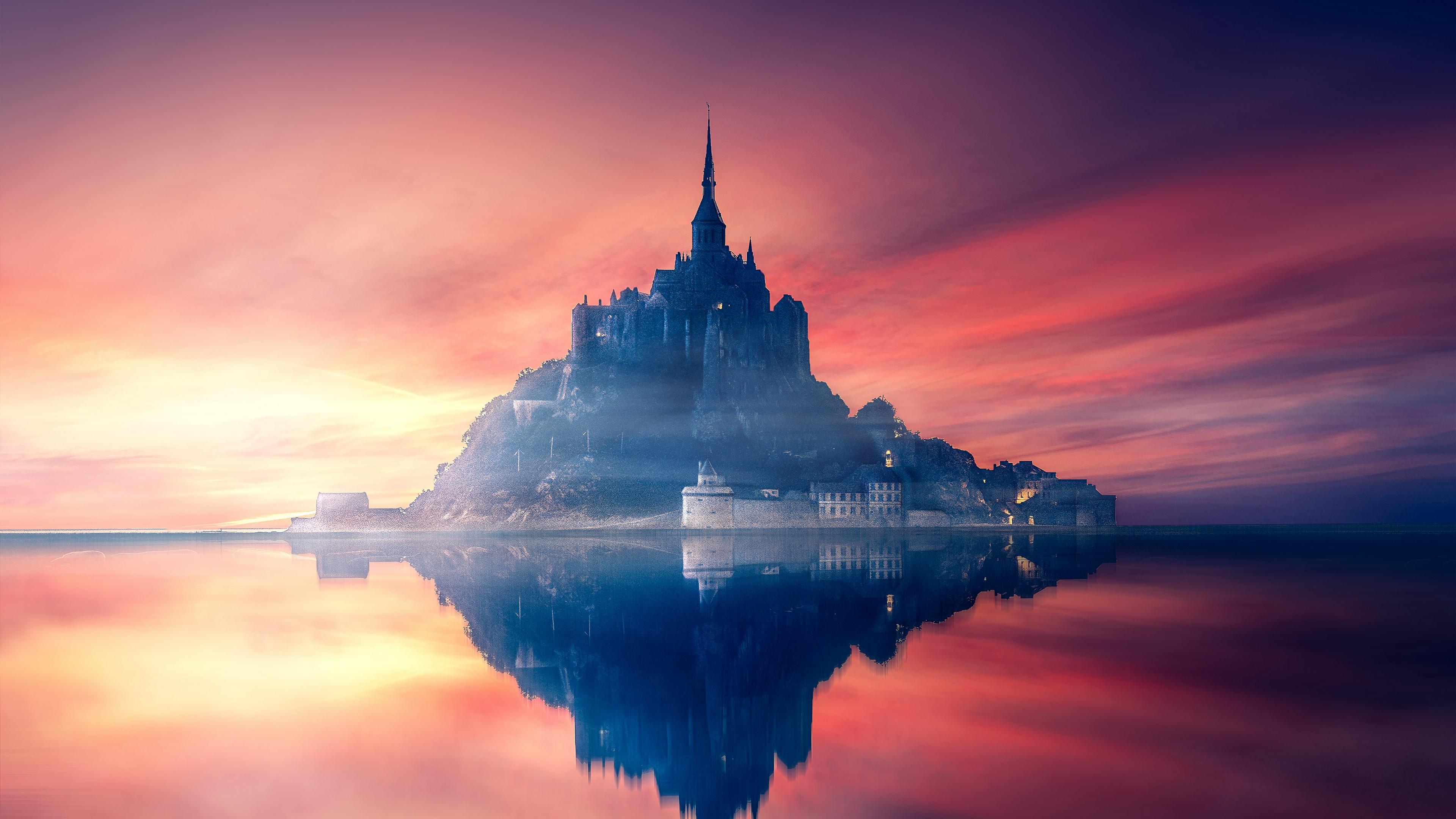 mont saint michel france island castle sunset 4k 1538067979 - mont-saint-michel, france, island, castle, sunset 4k - mont-saint-michel, Island, France