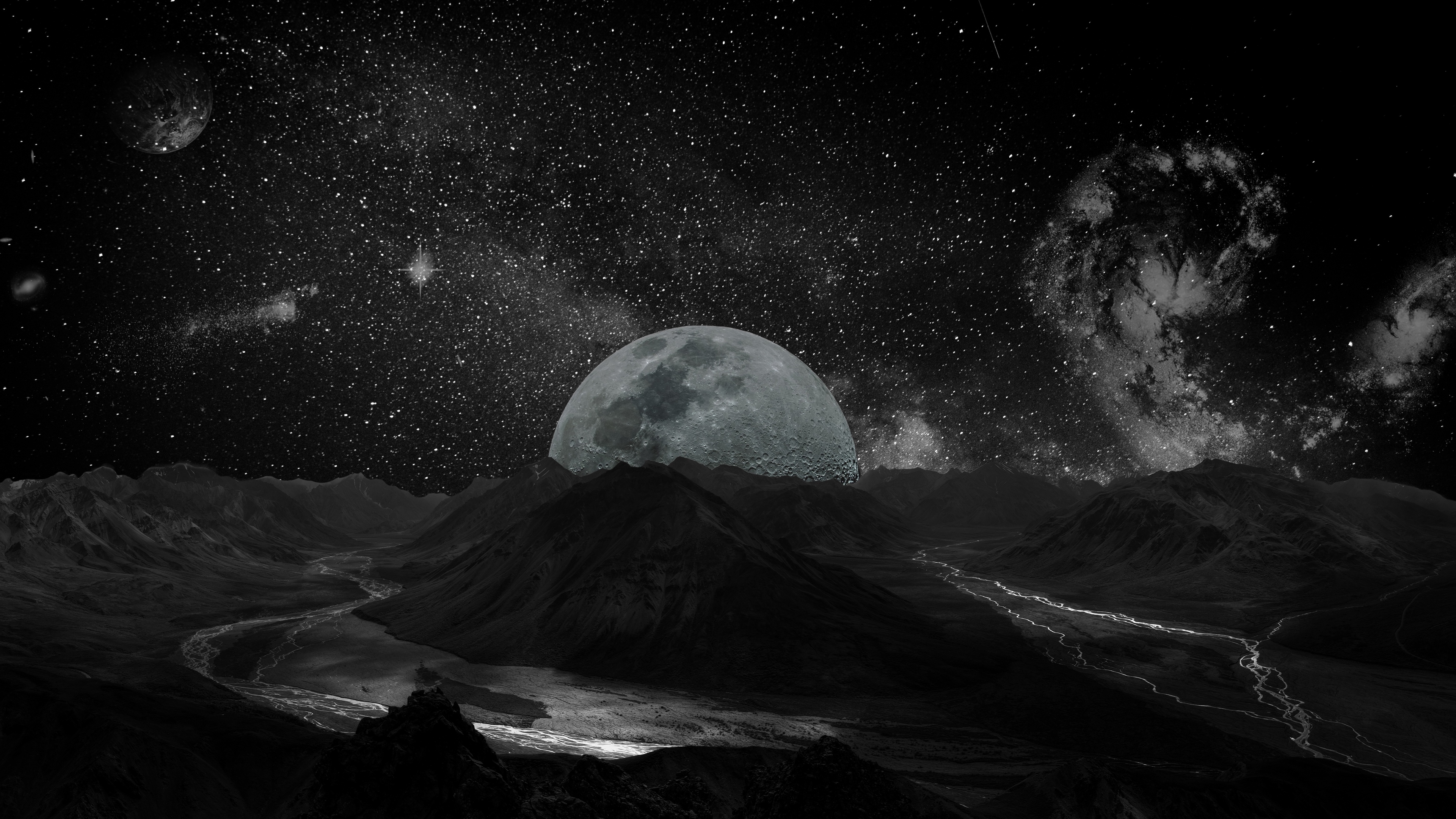 moon planet stars galaxy space 4k 1536016998 - moon, planet, stars, galaxy, space 4k - Stars, Planet, Moon