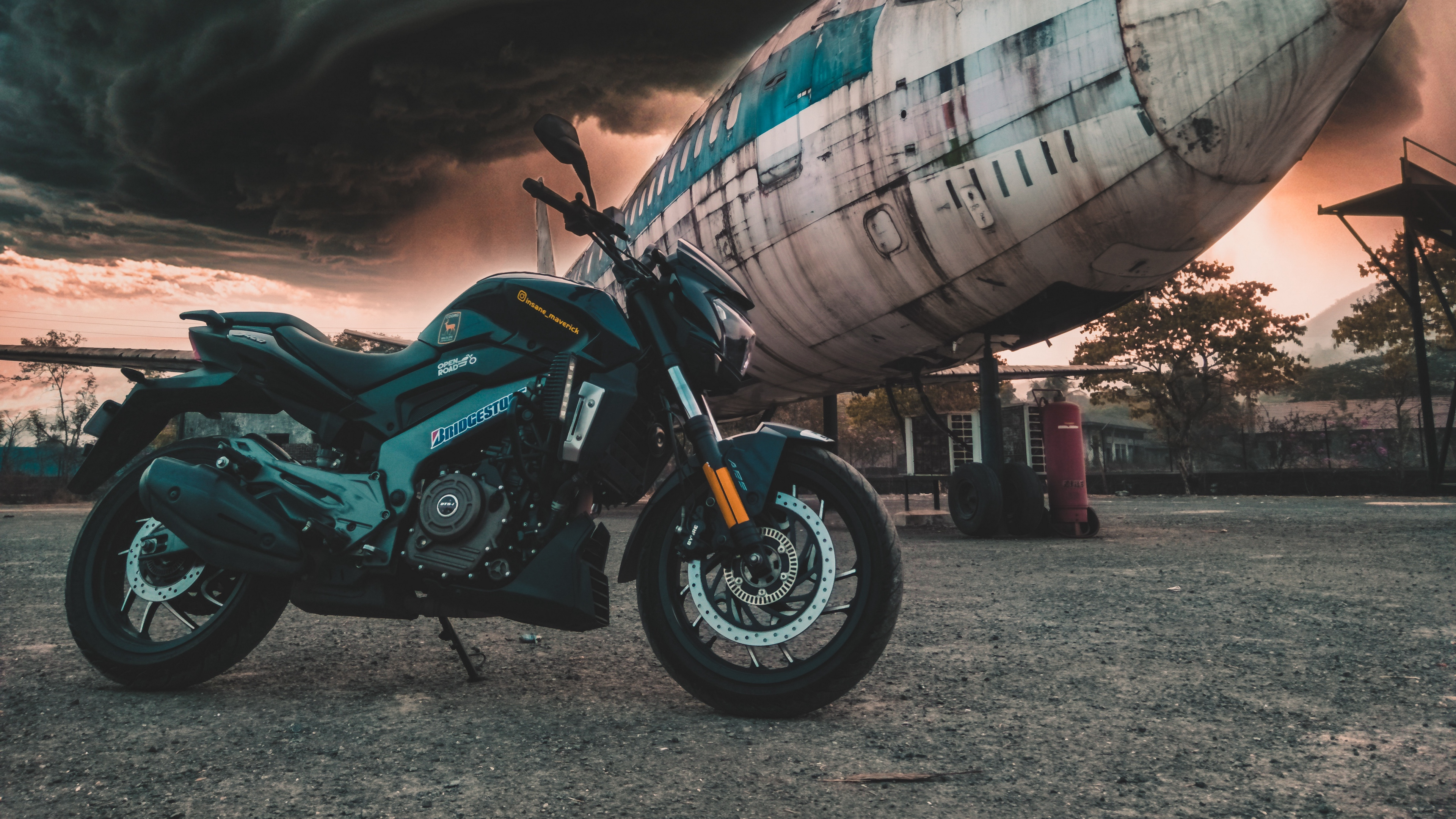 motorcycle airplane side view clouds overcast 4k 1536018856 - motorcycle, airplane, side view, clouds, overcast 4k - side view, Motorcycle, Airplane