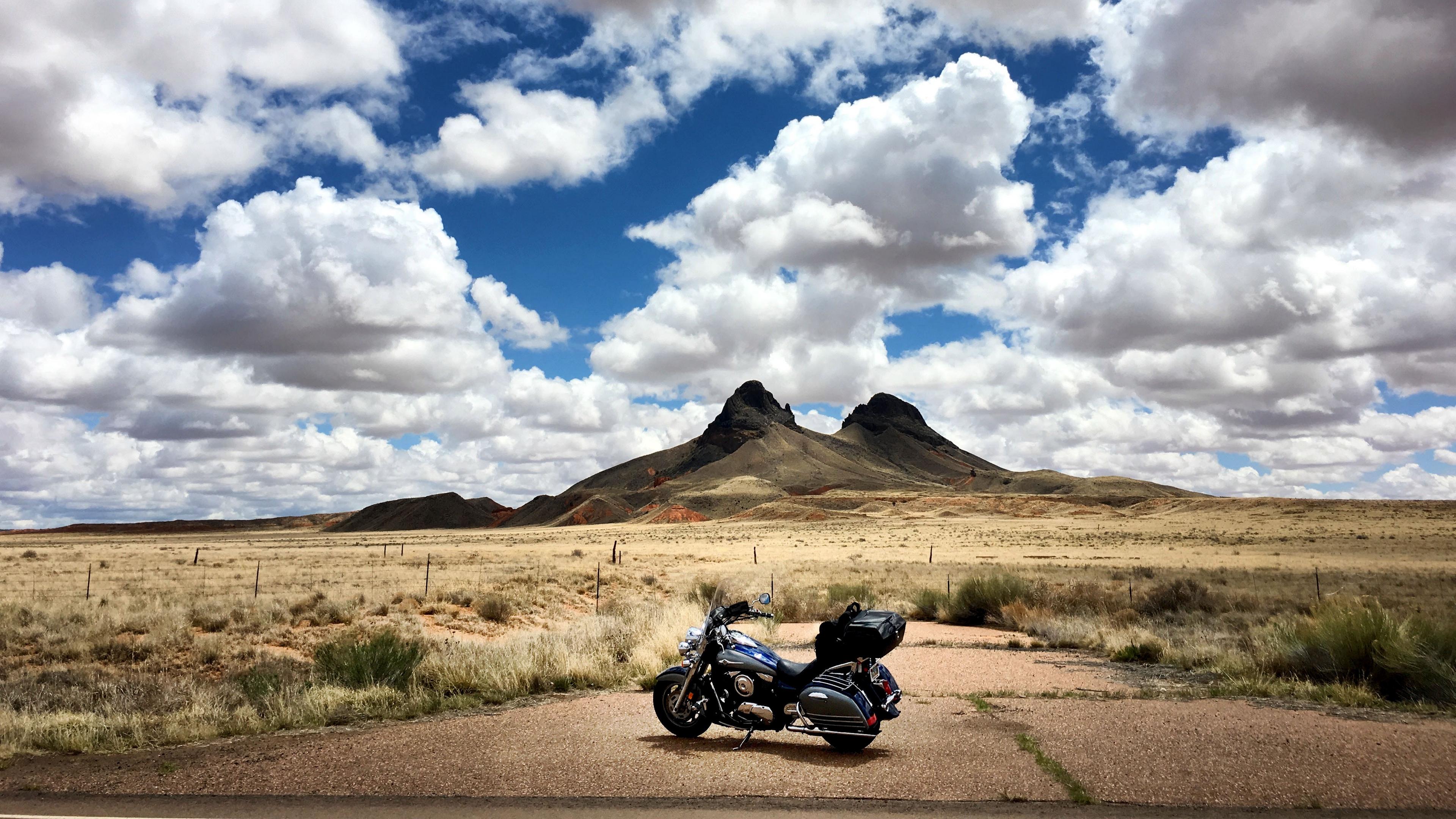 motorcycle mountains desert clouds travel 4k 1536018337 - motorcycle, mountains, desert, clouds, travel 4k - Mountains, Motorcycle, Desert
