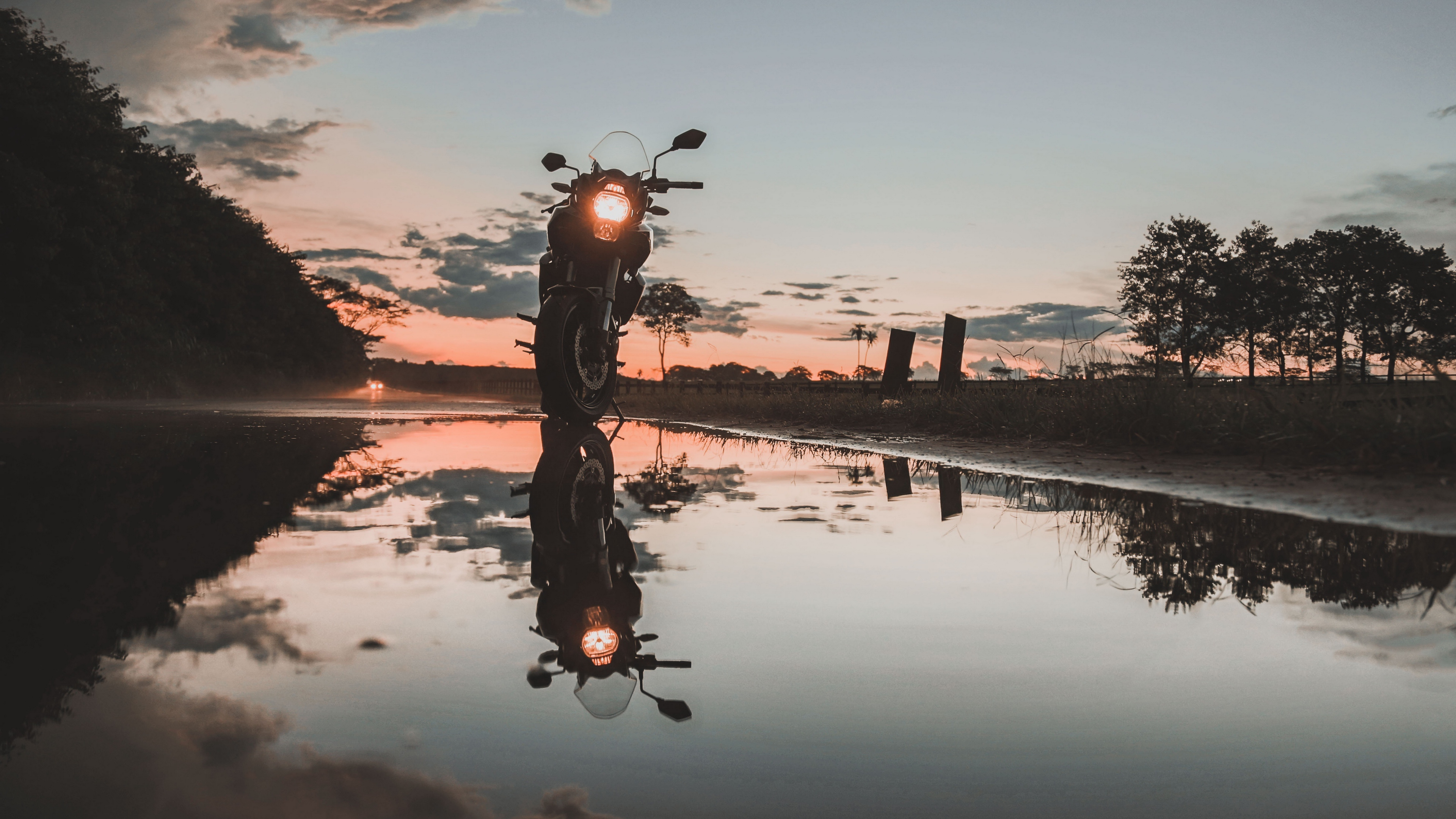 motorcycle sunset reflection water sky 4k 1536018782 - motorcycle, sunset, reflection, water, sky 4k - sunset, reflection, Motorcycle