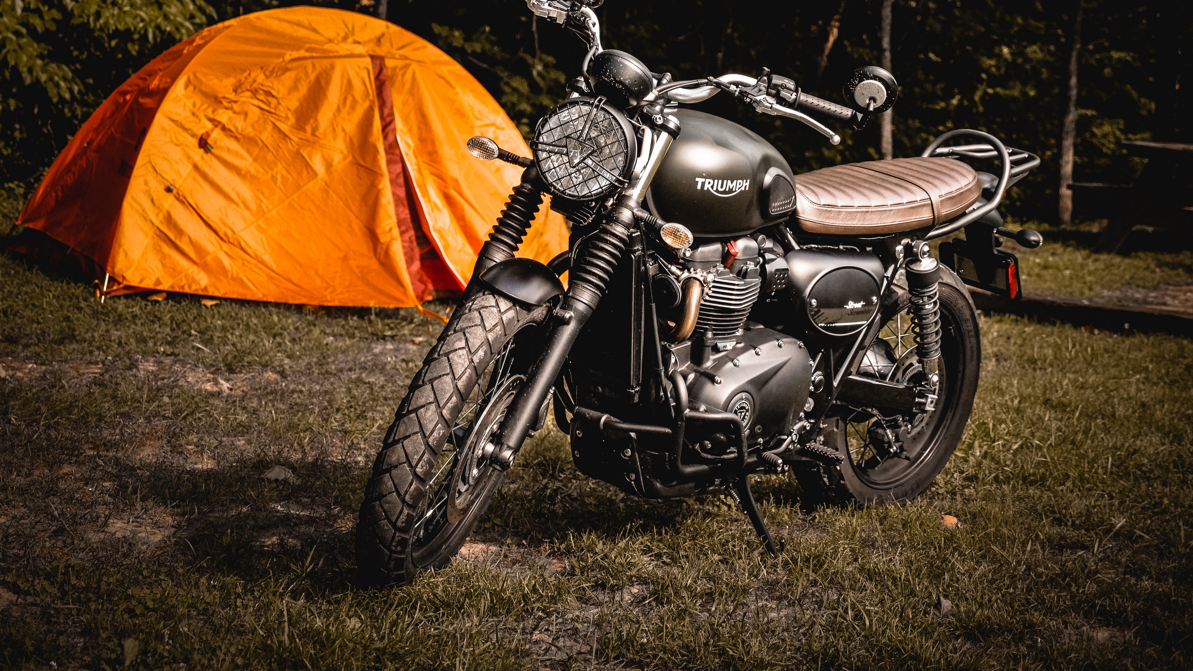 motorcycle tent grass 4k 1536018850 - motorcycle, tent, grass 4k - tent, Motorcycle, Grass