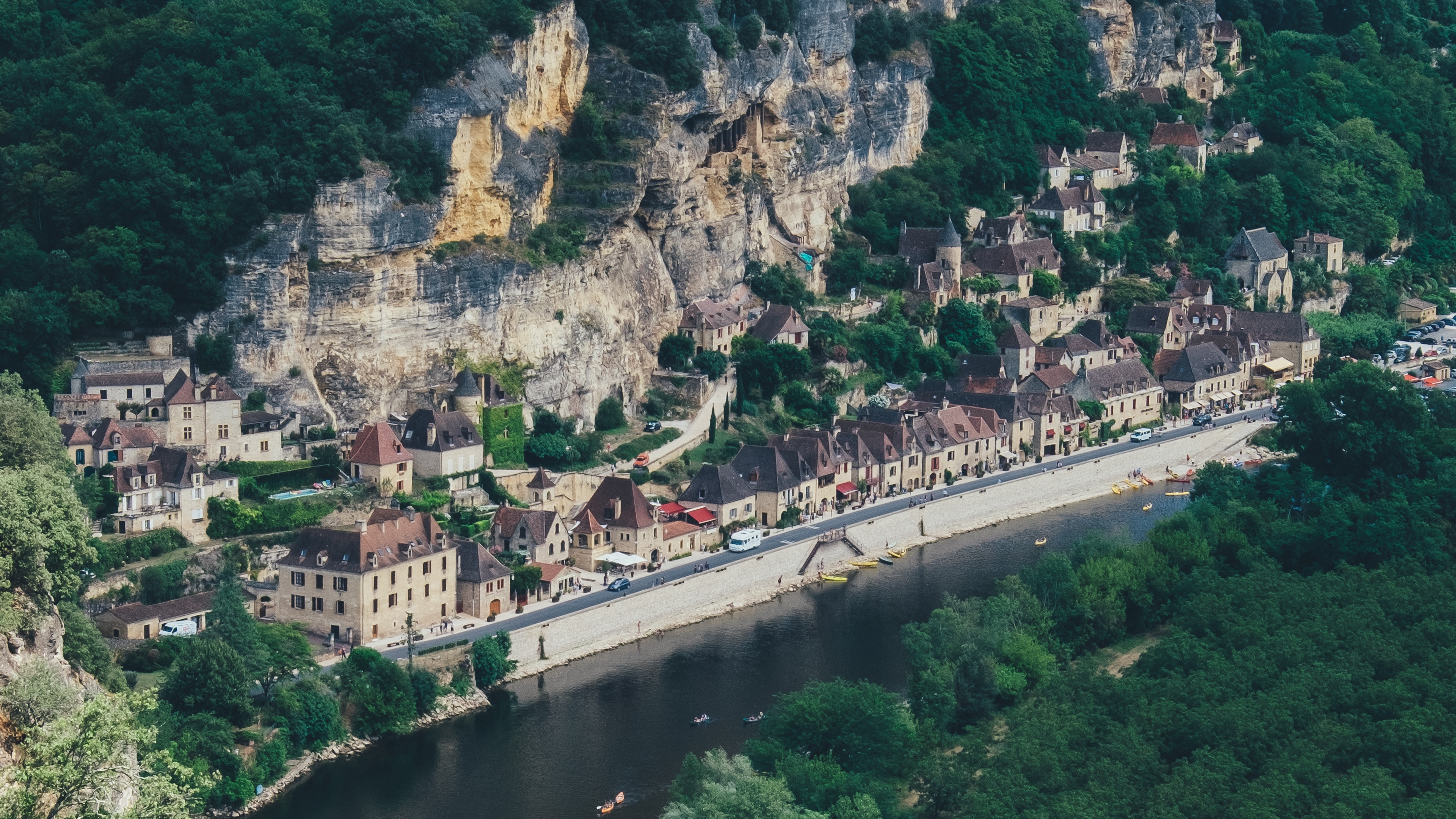 mountains river rock countryside canoes dordogne france 4k 1538065529 - mountains, river, rock, countryside, canoes, dordogne, france 4k - Rock, River, Mountains