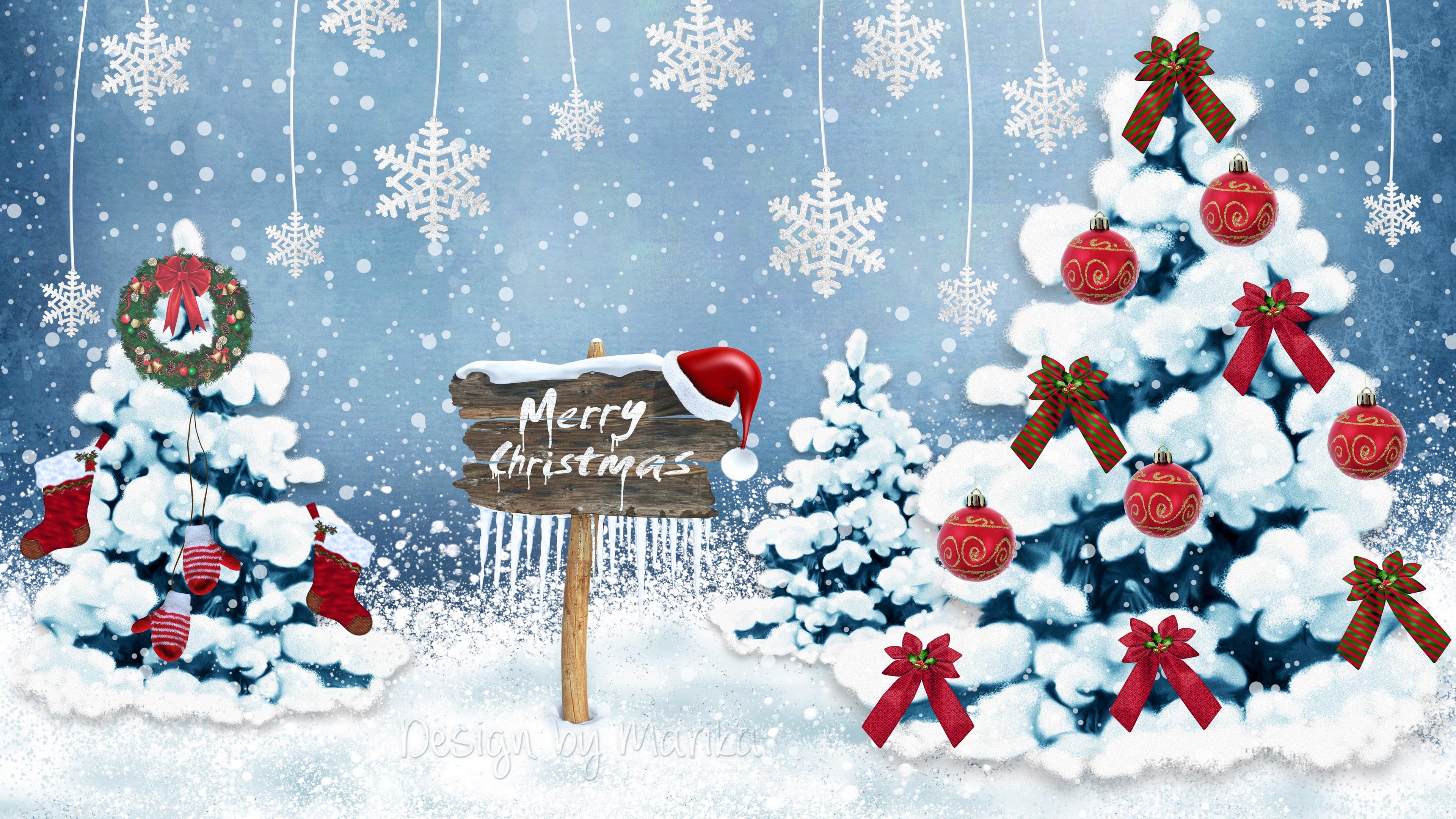 new year christmas card christmas trees snowflakes ornaments 4k 1538345406 - new year, christmas, card, christmas trees, snowflakes, ornaments 4k - new year, Christmas, Card