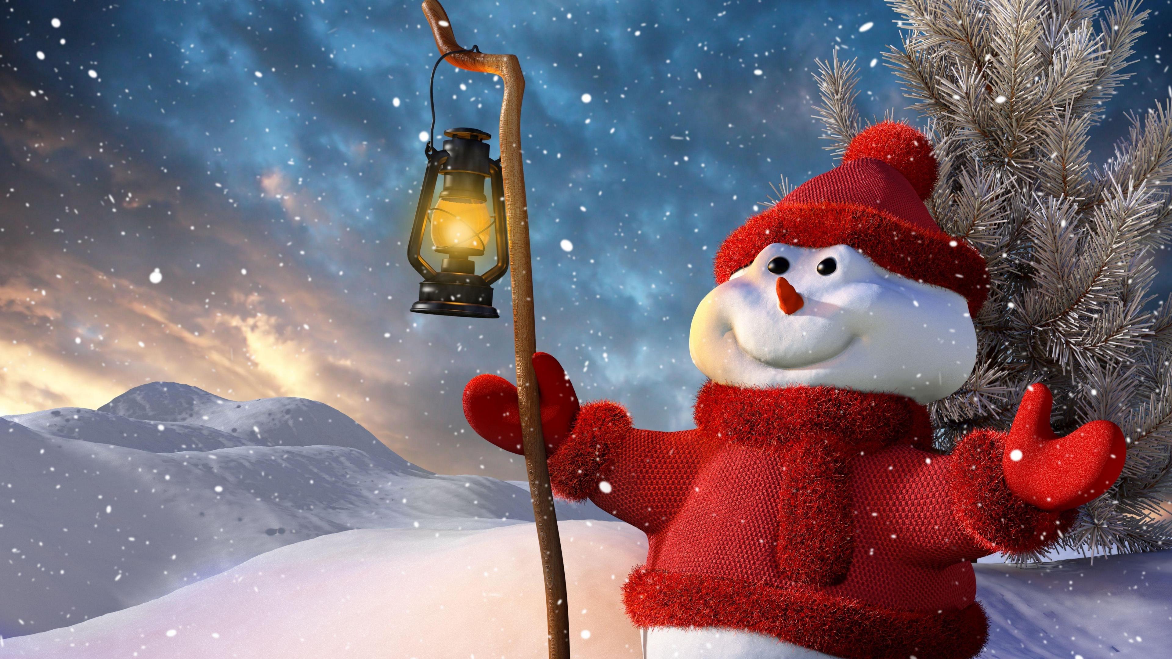 new year christmas snowman lamp tree snow smiling 4k 1538345340 - new year, christmas, snowman, lamp, tree, snow, smiling 4k - Snowman, new year, Christmas