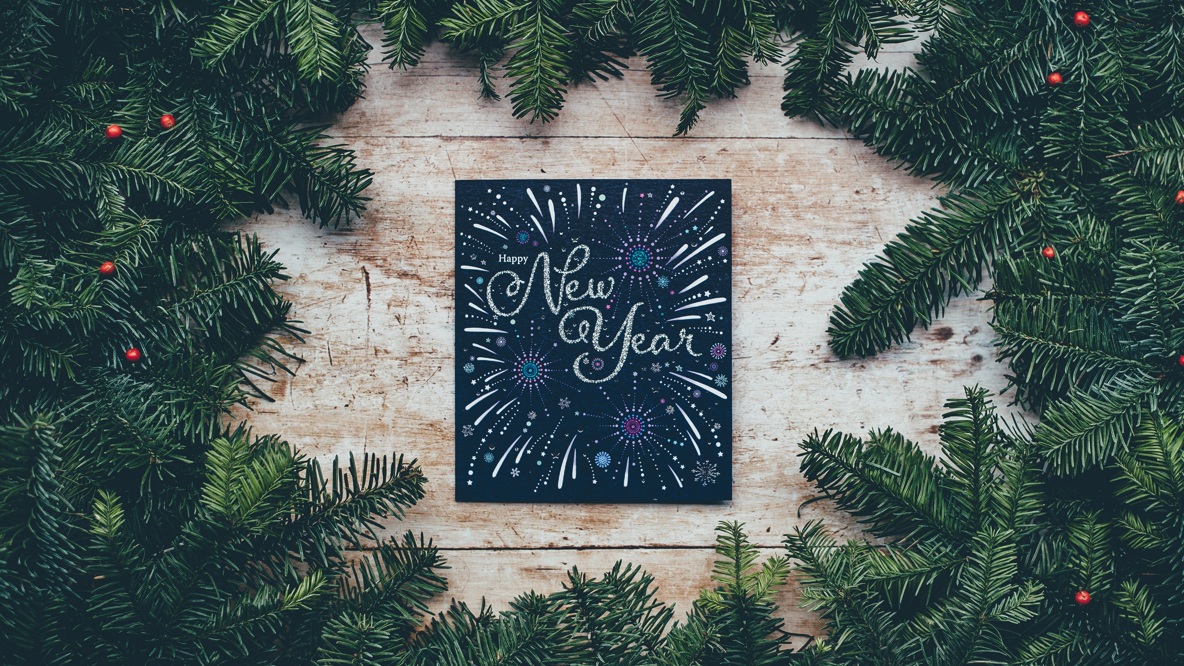 new year postcard branches spruce 4k 1538344799 - new year, postcard, branches, spruce 4k - postcard, new year, branches